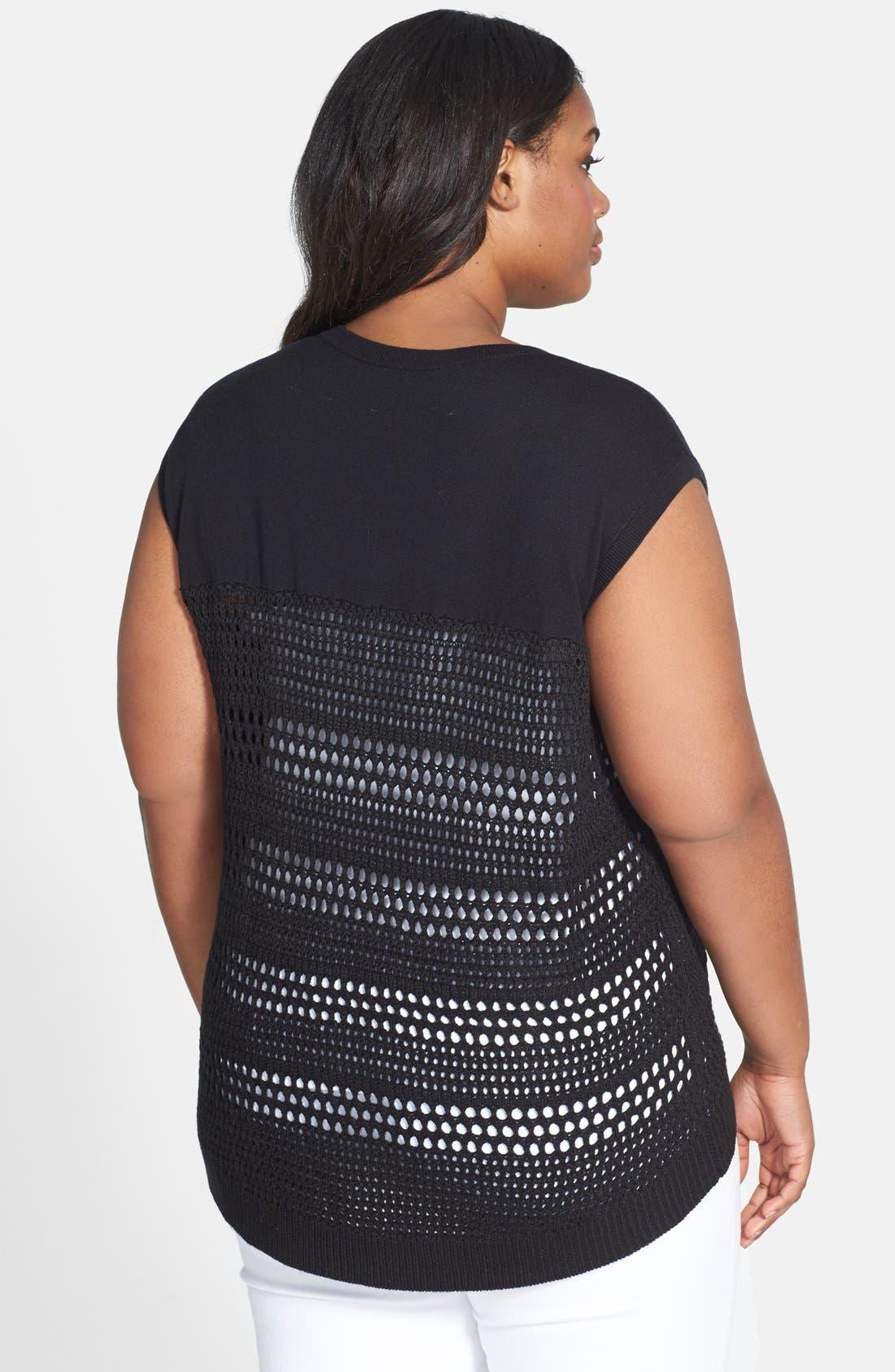 Alternate Image 2  - Caslon® Solid Yoke Crochet Sweater (Plus Size)