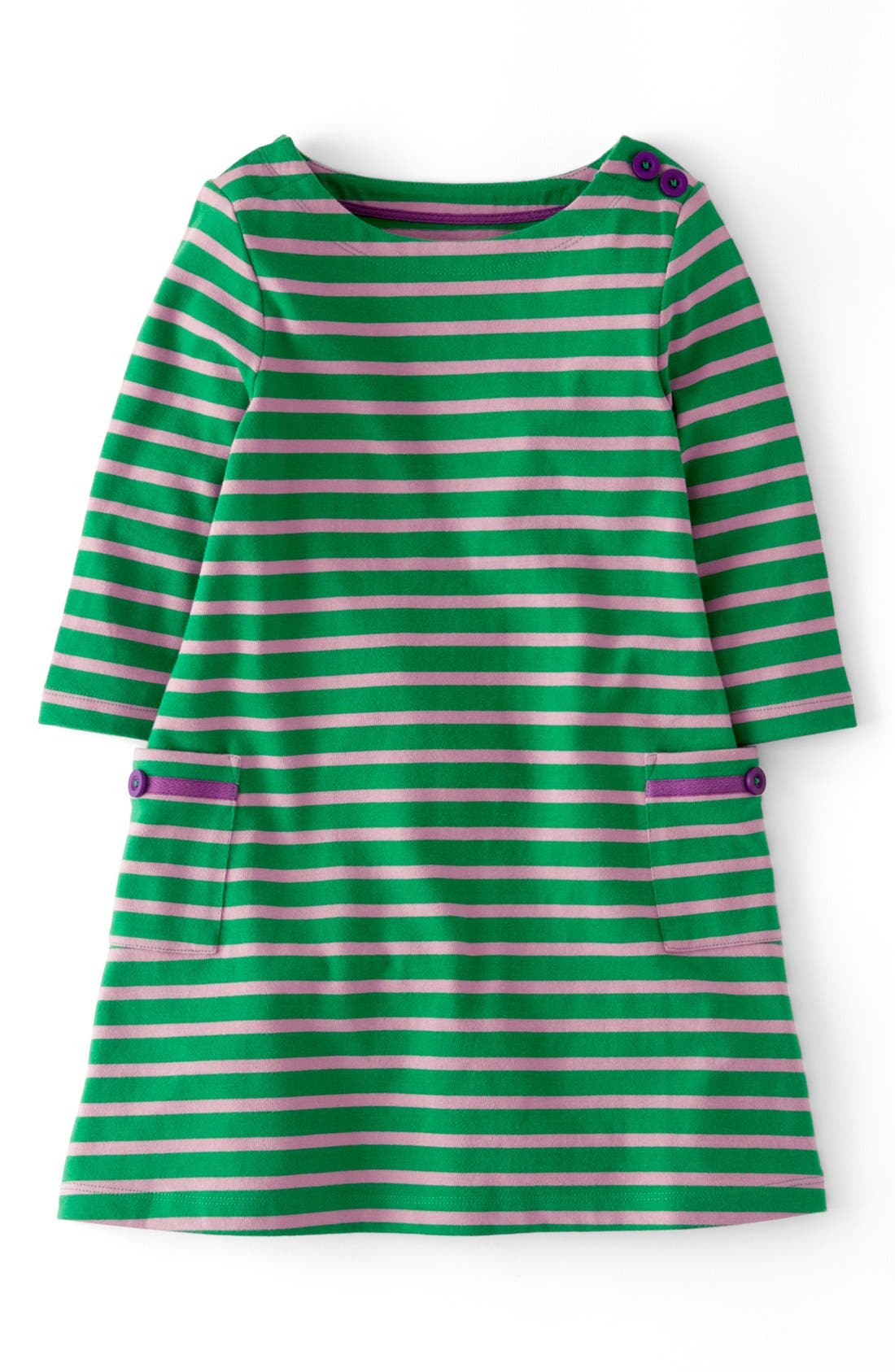 Main Image - Mini Boden Stripy Boatneck Dress (Toddler Girls, Little Girls & Big Girls)(Online Only)