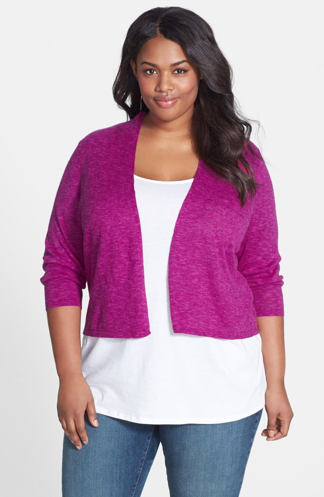 Alternate Image 1 Selected - Eileen Fisher Organic Linen & Cotton Crop Cardigan (Plus Size)