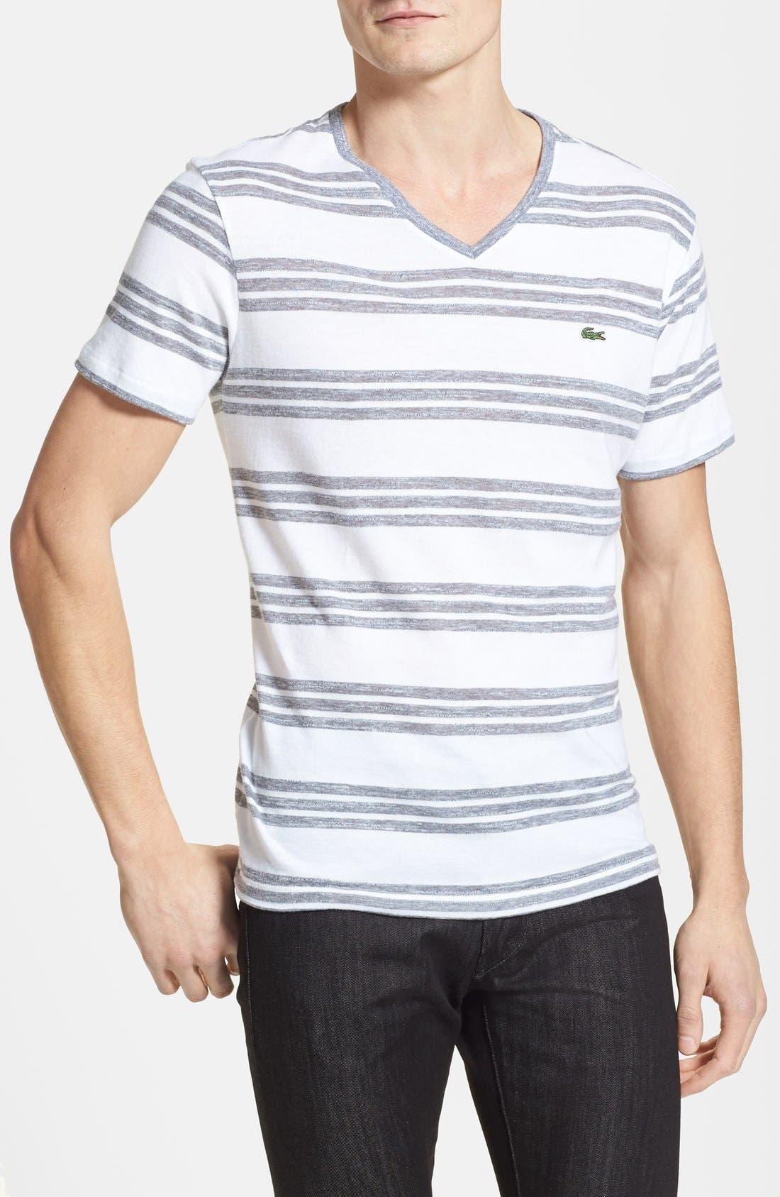 Main Image - Lacoste Jaspe Stripe Jersey V-Neck T-Shirt
