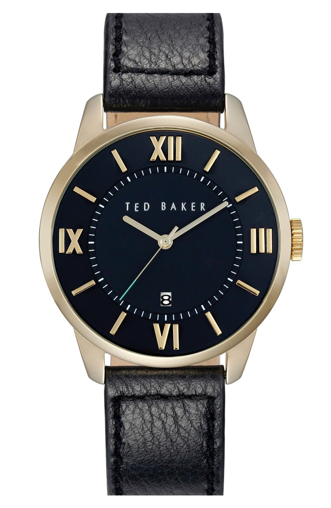 Ted Baker London Round Leather Strap Watch, 41mm
