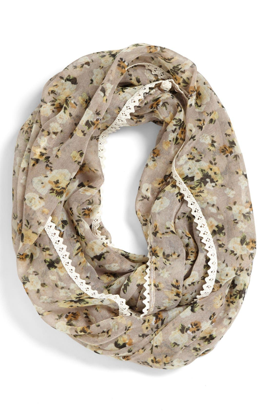 Main Image - Lulu Lace Trim Floral Infinity Scarf (Juniors)