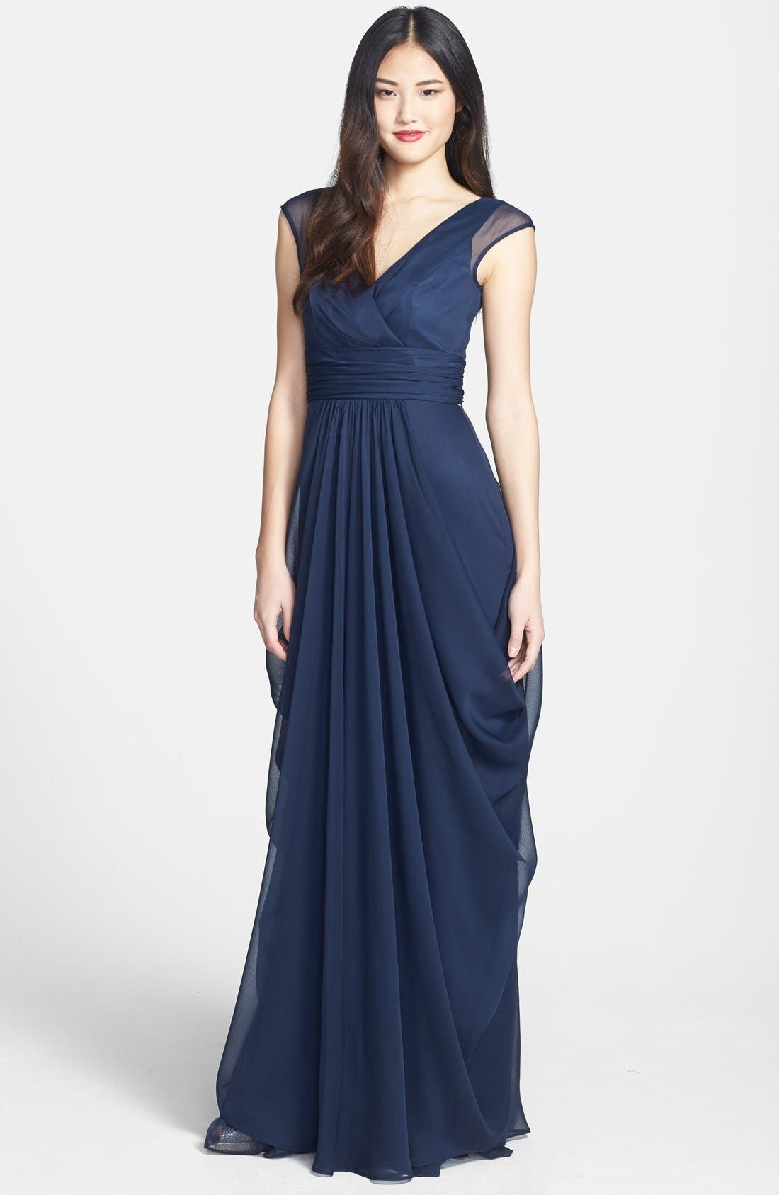 Alternate Image 1 Selected - Lela Rose Bridesmaid Drape Crinkled Chiffon Gown