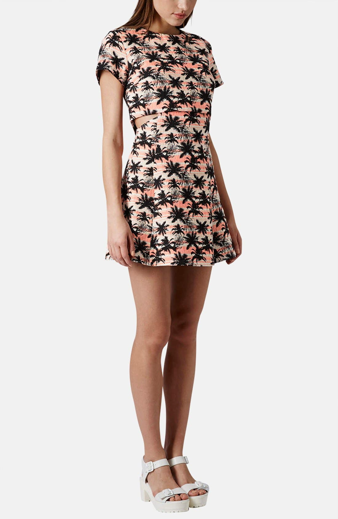 Alternate Image 5  - Topshop Cutout Palm Jacquard Skater Dress
