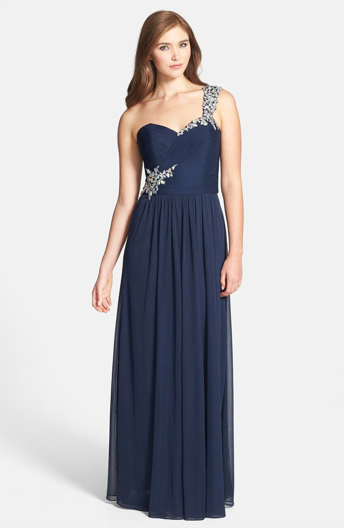 Alternate Image 1 Selected - Xscape Beaded One-Shoulder Sheer Jersey Gown