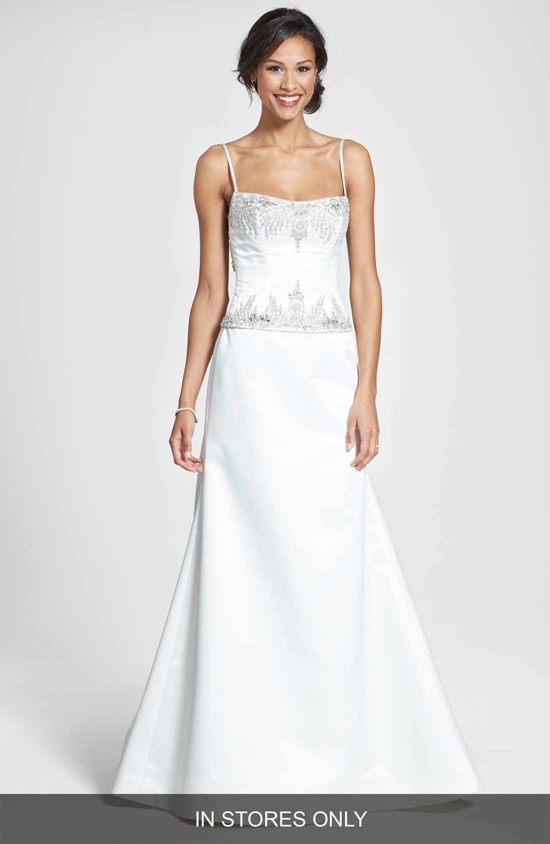 Main Image - Roses by Reem Acra 'Aster' Embellished Duchess Satin Dress (In Stores Only)