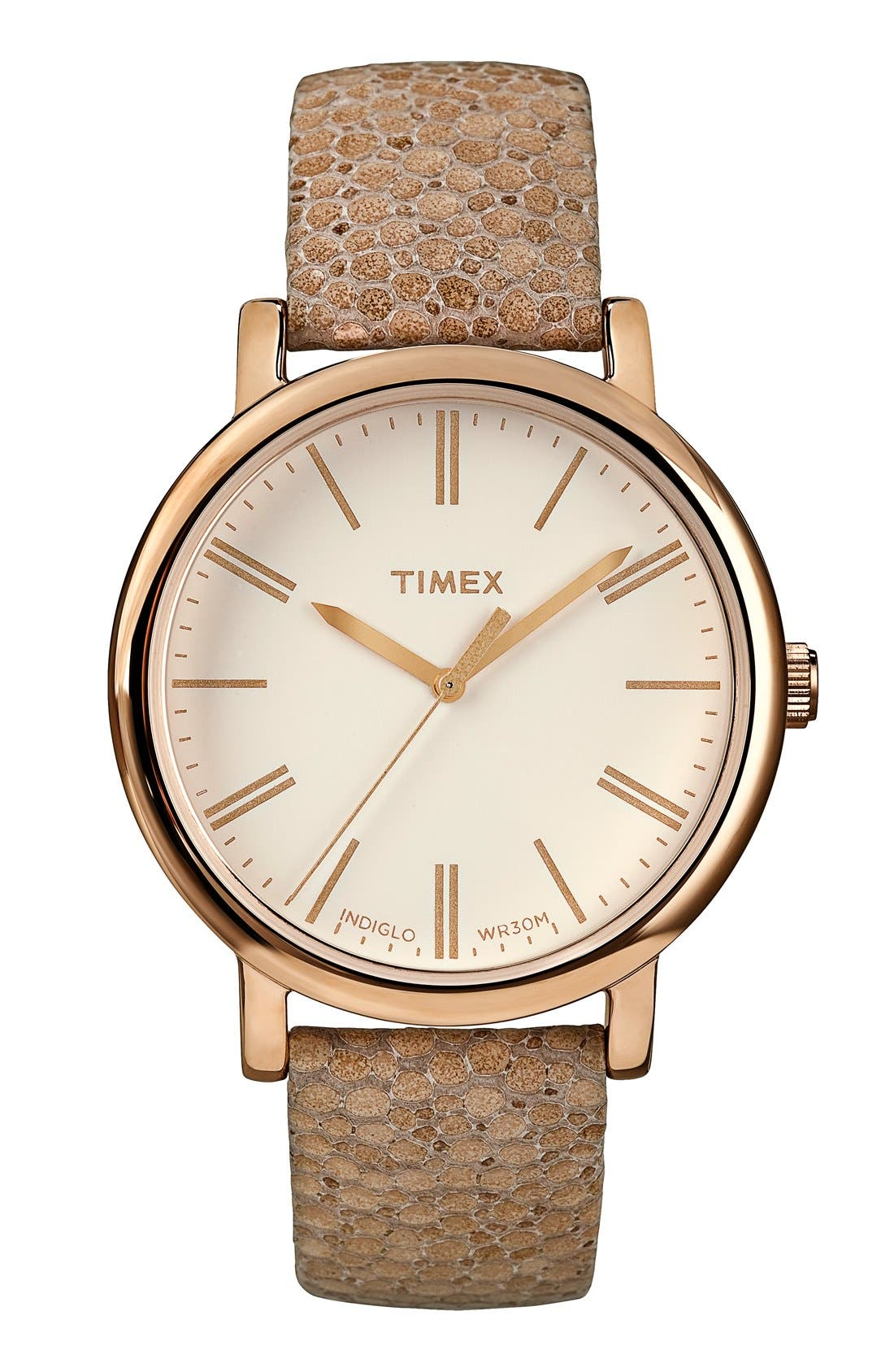 Alternate Image 1 Selected - Timex® Round Pebbled Leather Strap Watch, 38mm