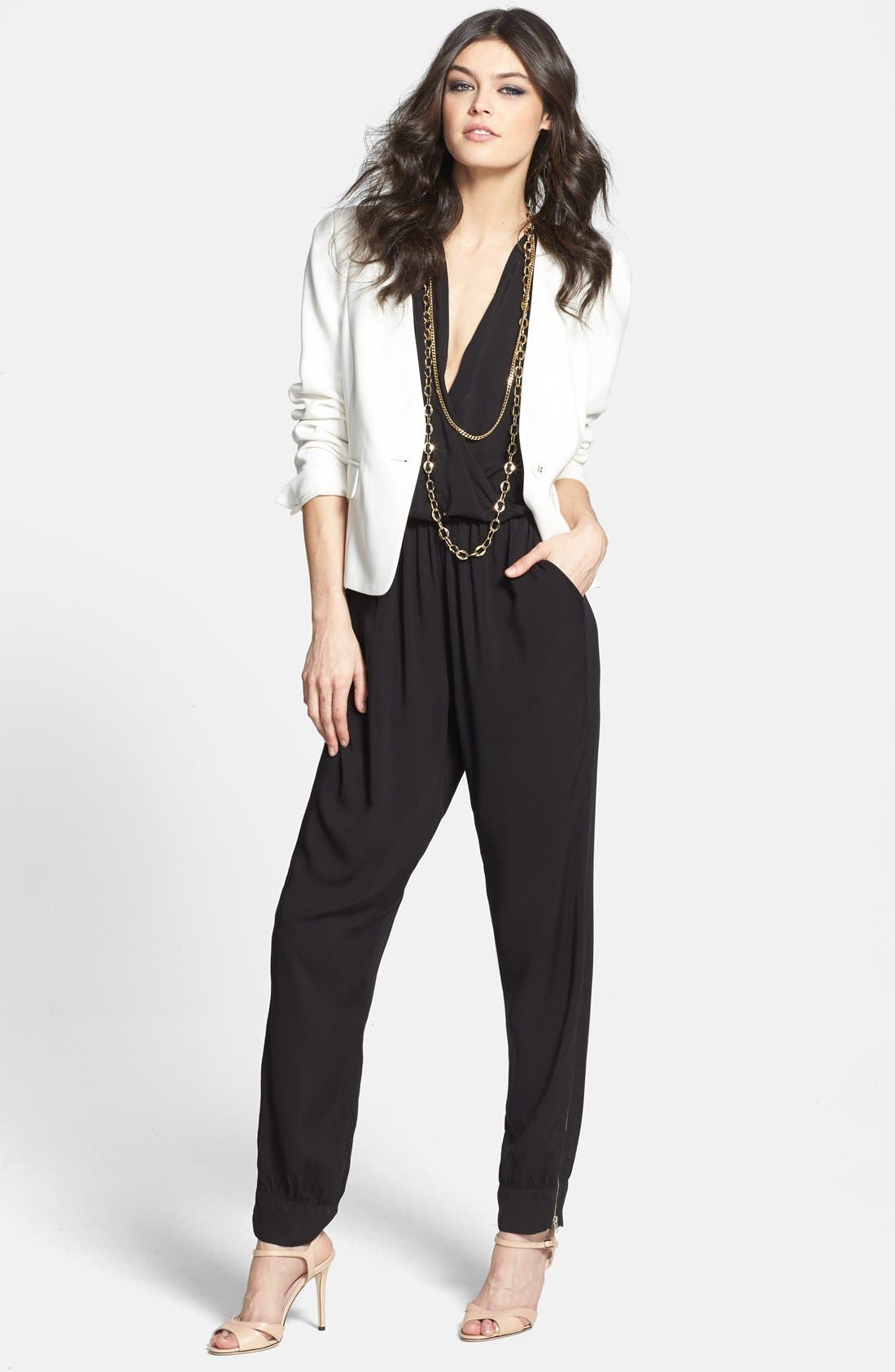 Alternate Image 4  - Olivia Moon Wrap Top Jumpsuit (Regular & Petite)