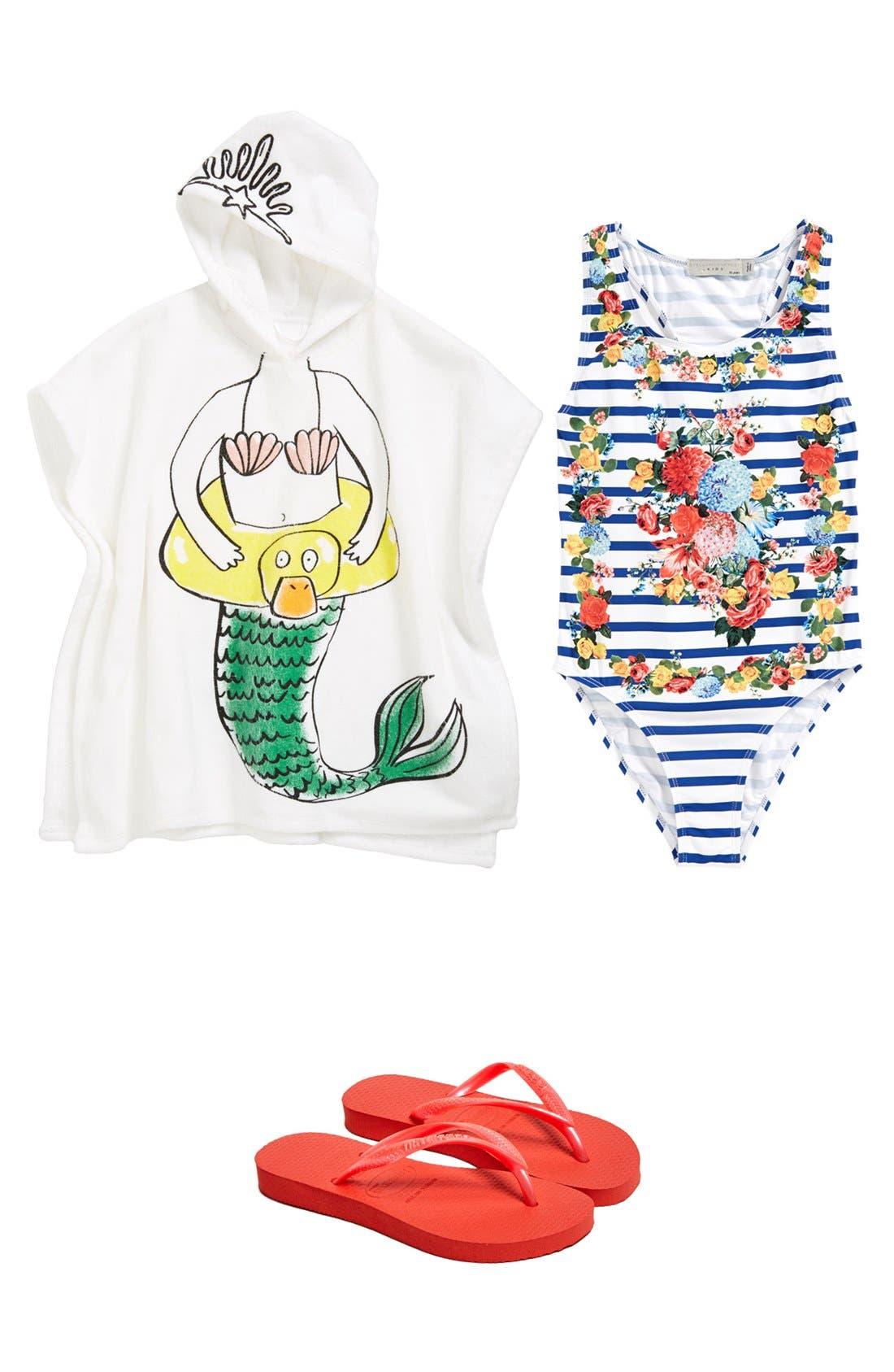 Main Image - Stella McCartney Kids Hooded Towel & Swimsuit & Havaianas Flip Flop (Girls)