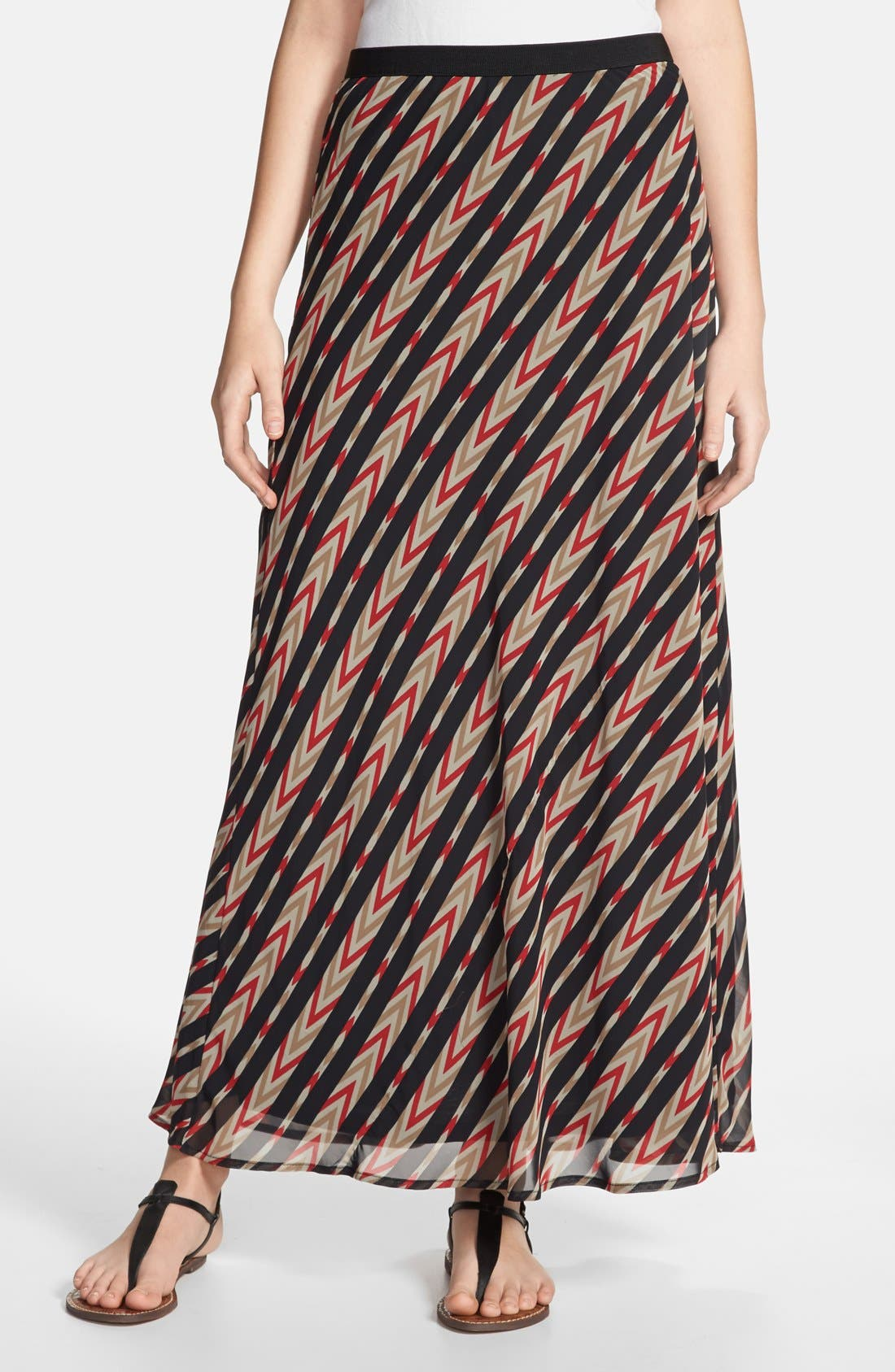 Alternate Image 1 Selected - Pleione Stripe Print Maxi Skirt