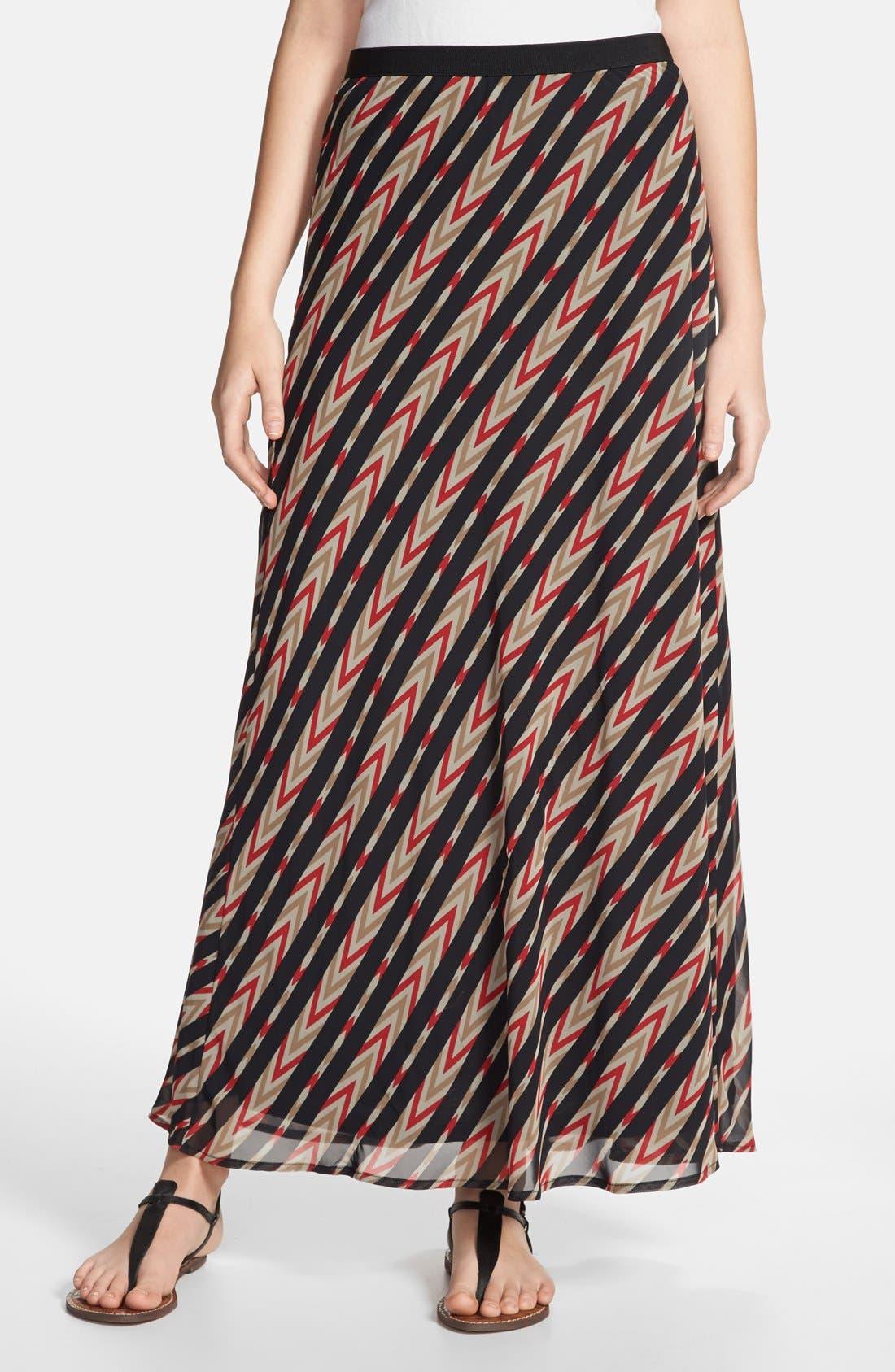 Main Image - Pleione Stripe Print Maxi Skirt