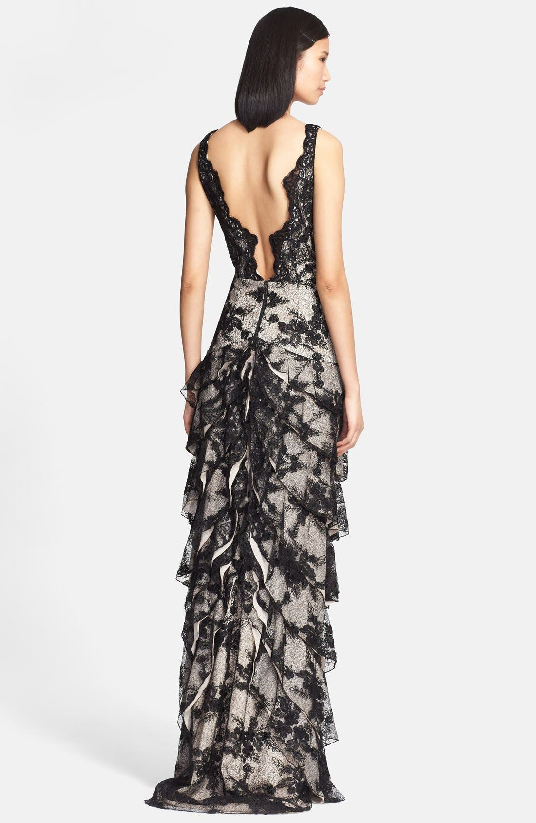 Alternate Image 2  - Alice + Olivia 'Powell' Tiered Lace Column Gown