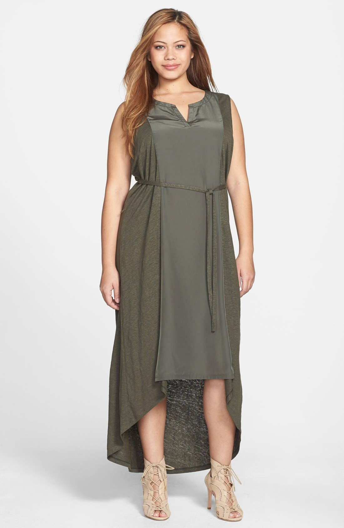 Main Image - Halogen® Mixed Media High/Low Maxi Dress (Plus Size)