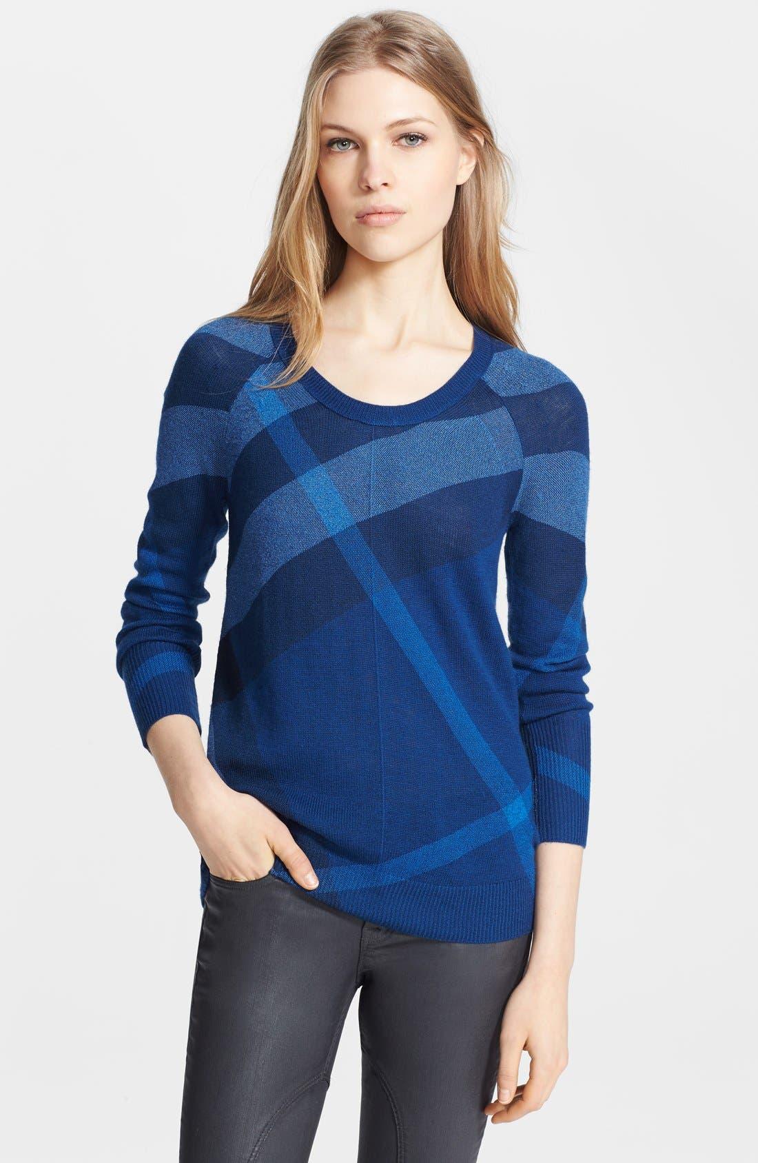 Main Image - Burberry Brit Check Pattern Merino & Cashmere Sweater