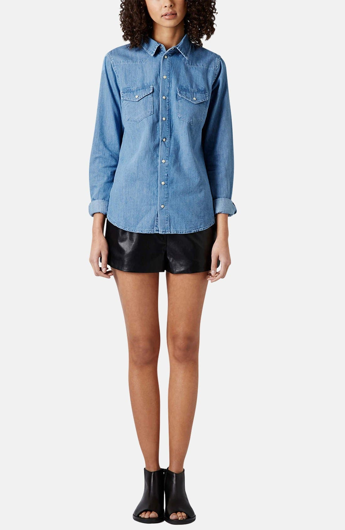 Alternate Image 5  - Topshop Moto Fitted Western Denim Shirt