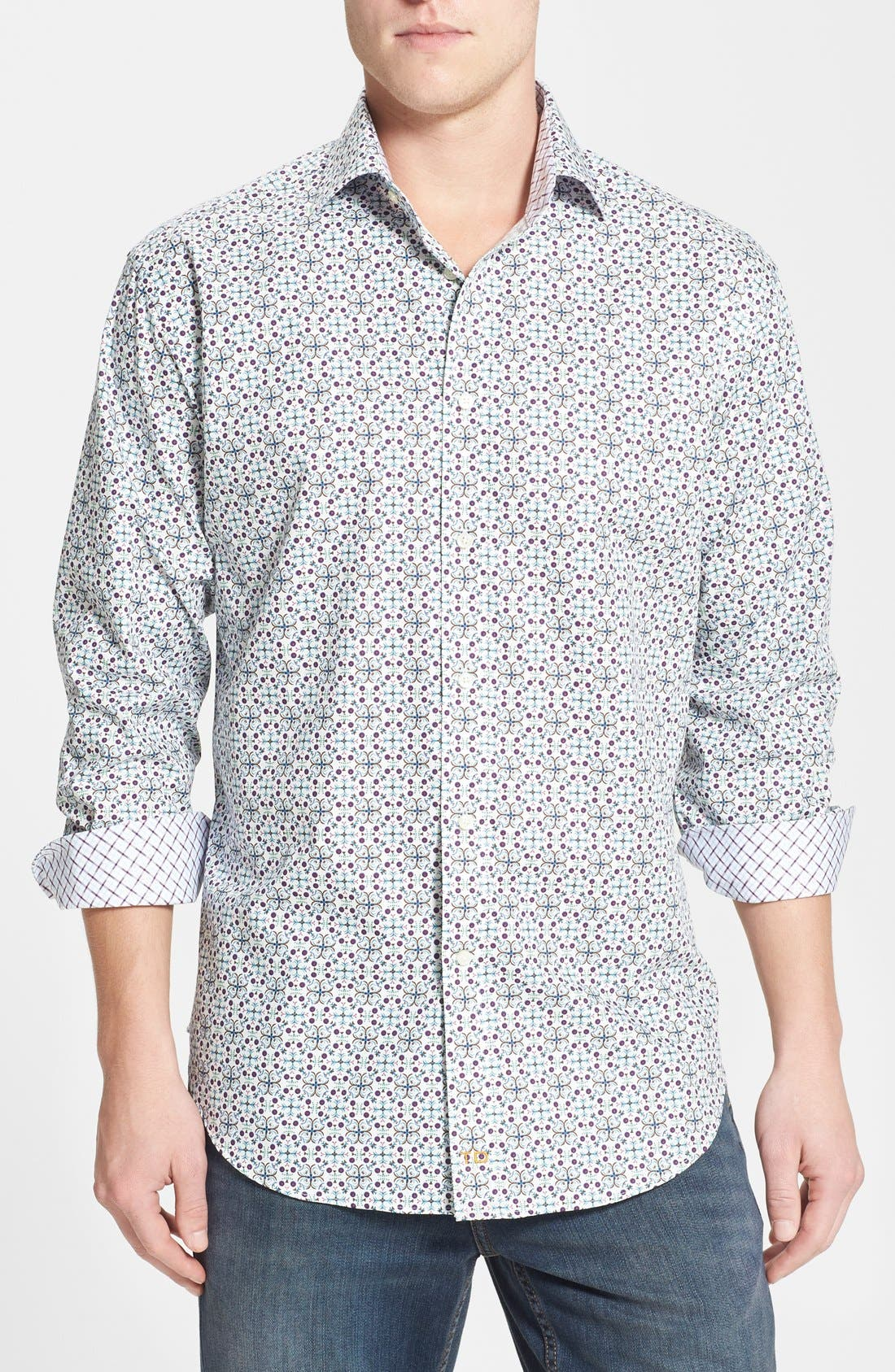 Main Image - Thomas Dean Regular Fit Print Sport Shirt