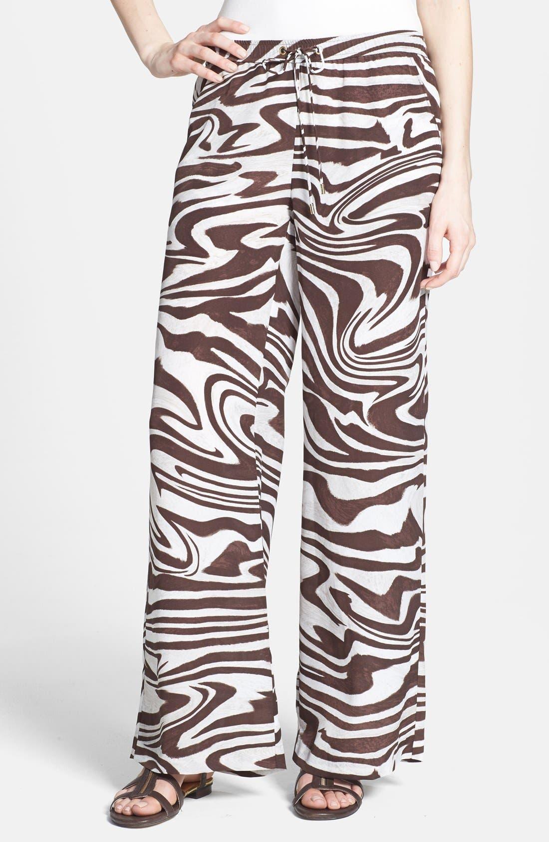 Main Image - MICHAEL Michael Kors Zebra Print Wide Leg Pants (Regular & Petite)