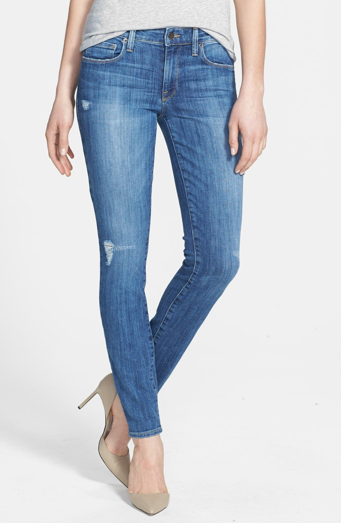 Alternate Image 1 Selected - Genetic 'Stem' Mid Rise Skinny Jeans (Slash)