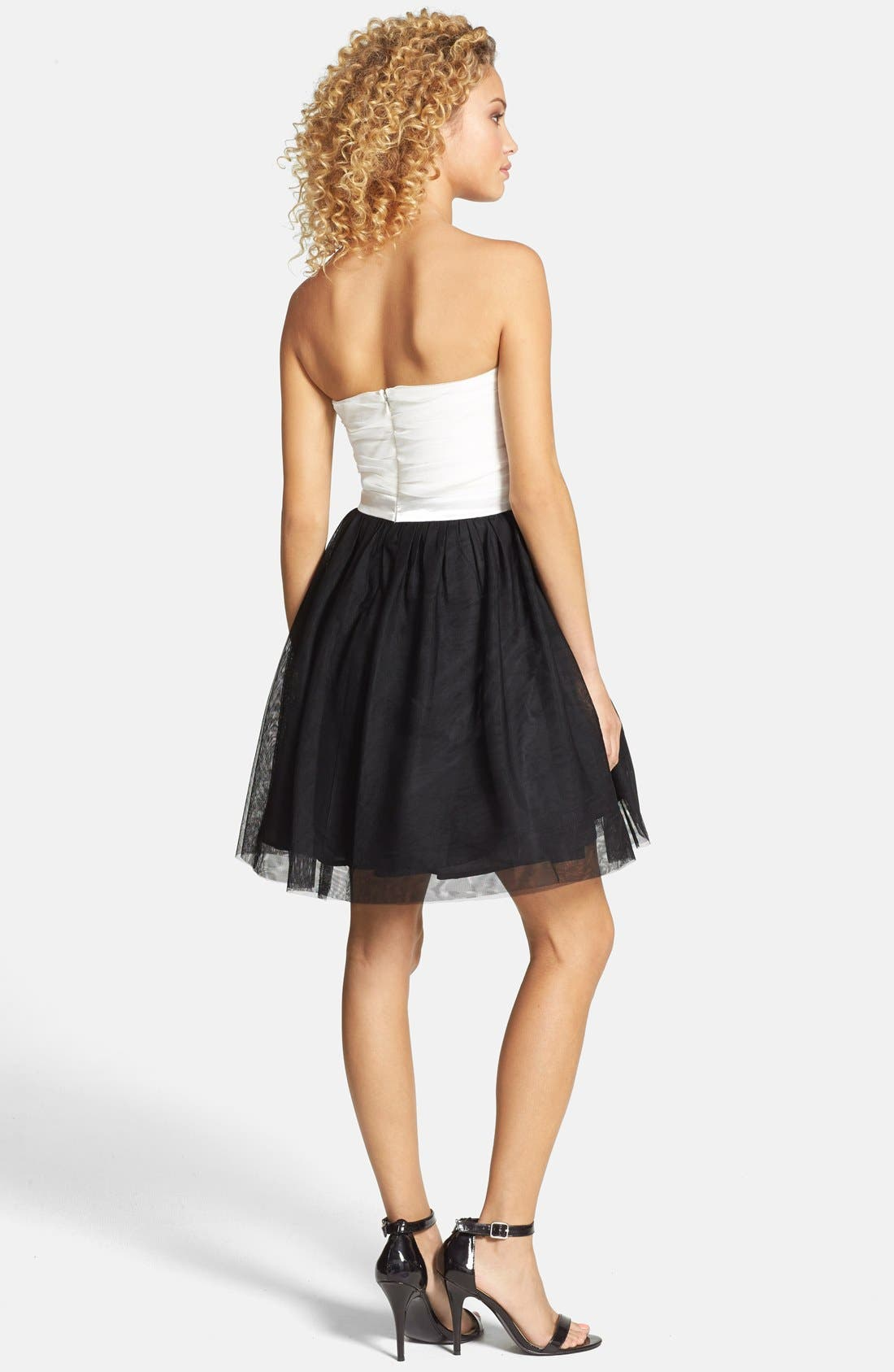 Alternate Image 2  - As U Wish Strapless Colorblock Party Dress (Juniors)