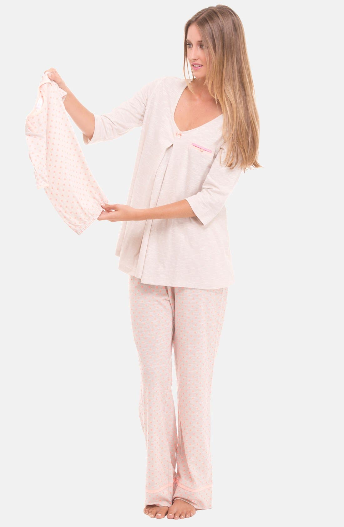 Alternate Image 3  - Olian Three-Piece Maternity Sleepwear Gift Set