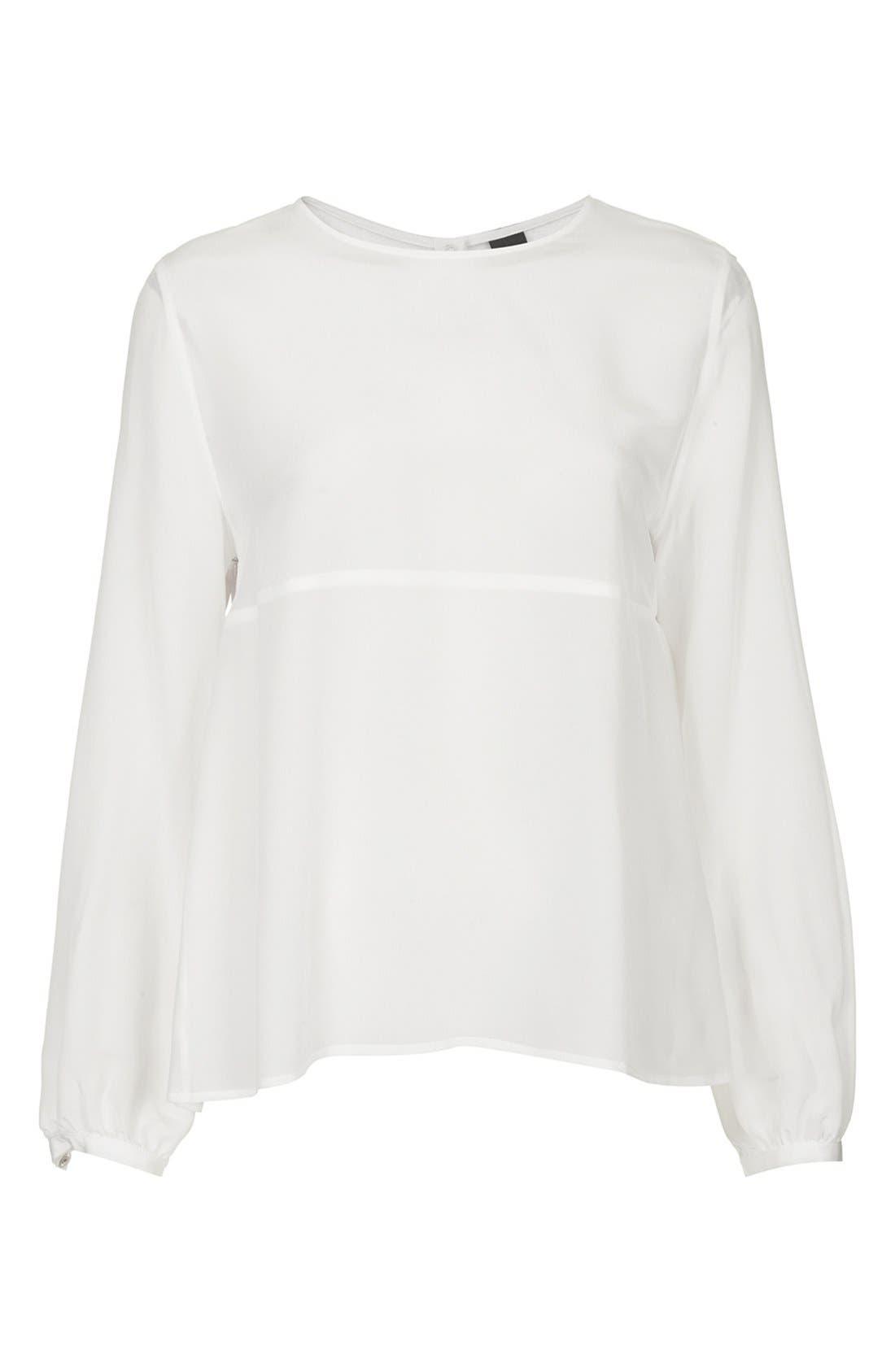 Alternate Image 3  - Topshop Boutique Tulle Back Silk Blouse