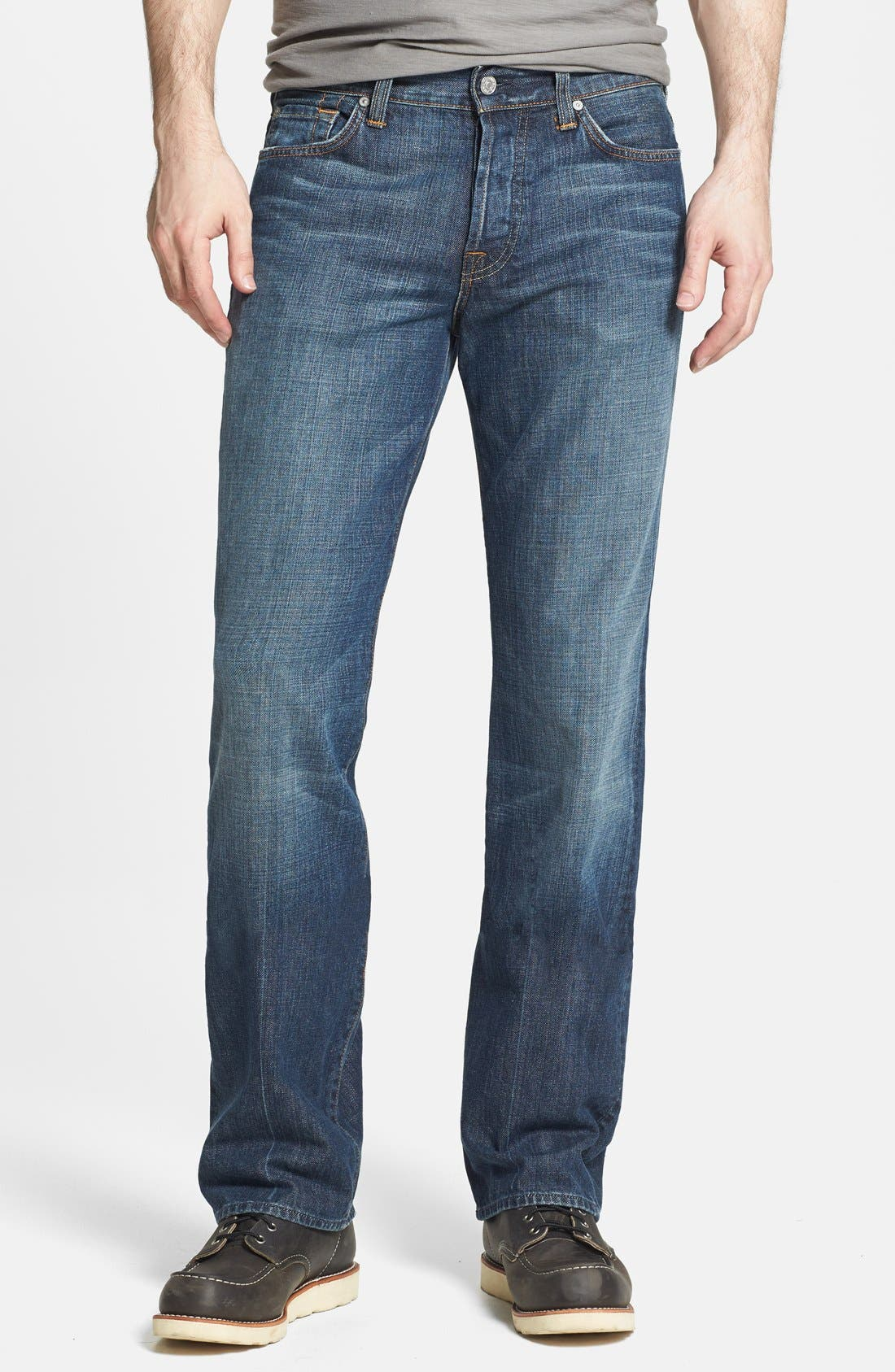 Alternate Image 1 Selected - 7 For All Mankind® 'Standard' Classic Straight Leg Jeans (New York Dark)