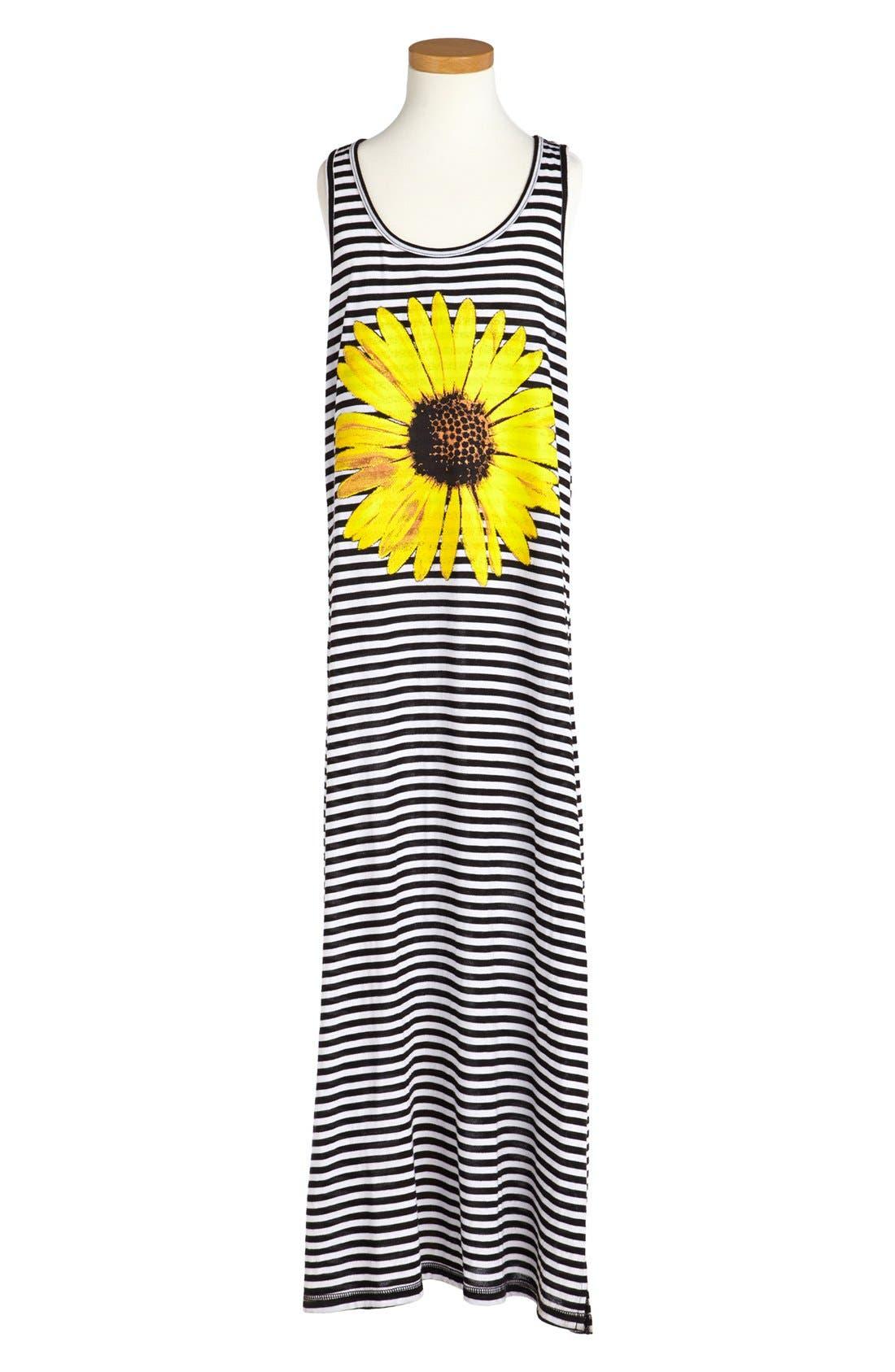 Alternate Image 1 Selected - Little Pretties Stripe Sunflower Print Maxi Dress (Big Girls)
