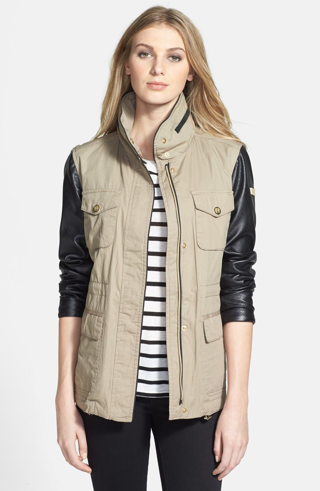 Alternate Image 1 Selected - Vince Camuto Faux Leather & Cotton Anorak