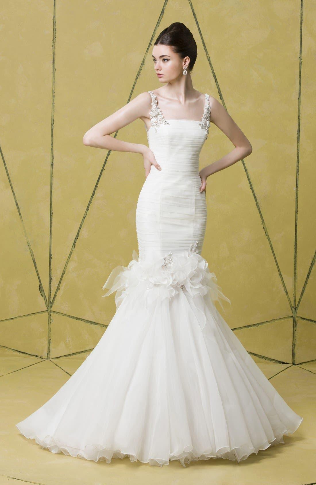 Alternate Image 4  - Badgley Mischka Bridal 'Grace' Embellished Tulle & Chiffon Mermaid Dress (In Stores Only)