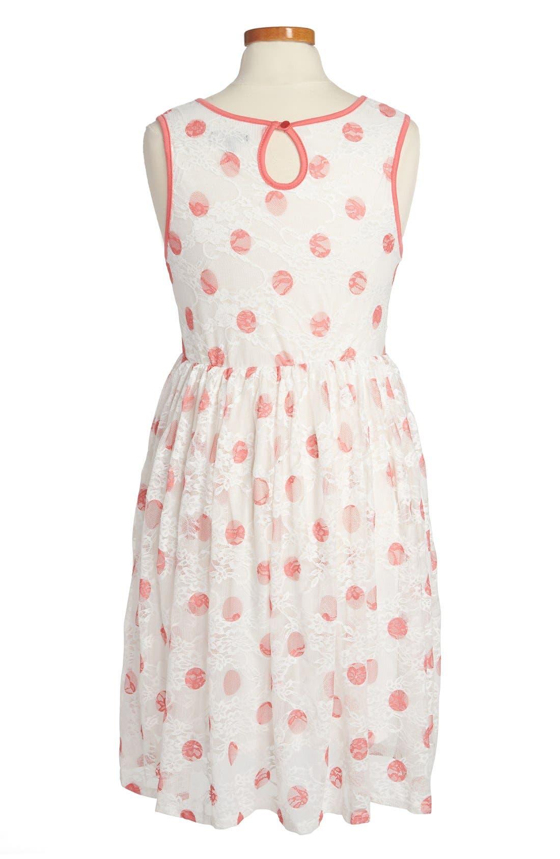 Alternate Image 2  - Zunie Dot Print Lace Dress (Big Girls)