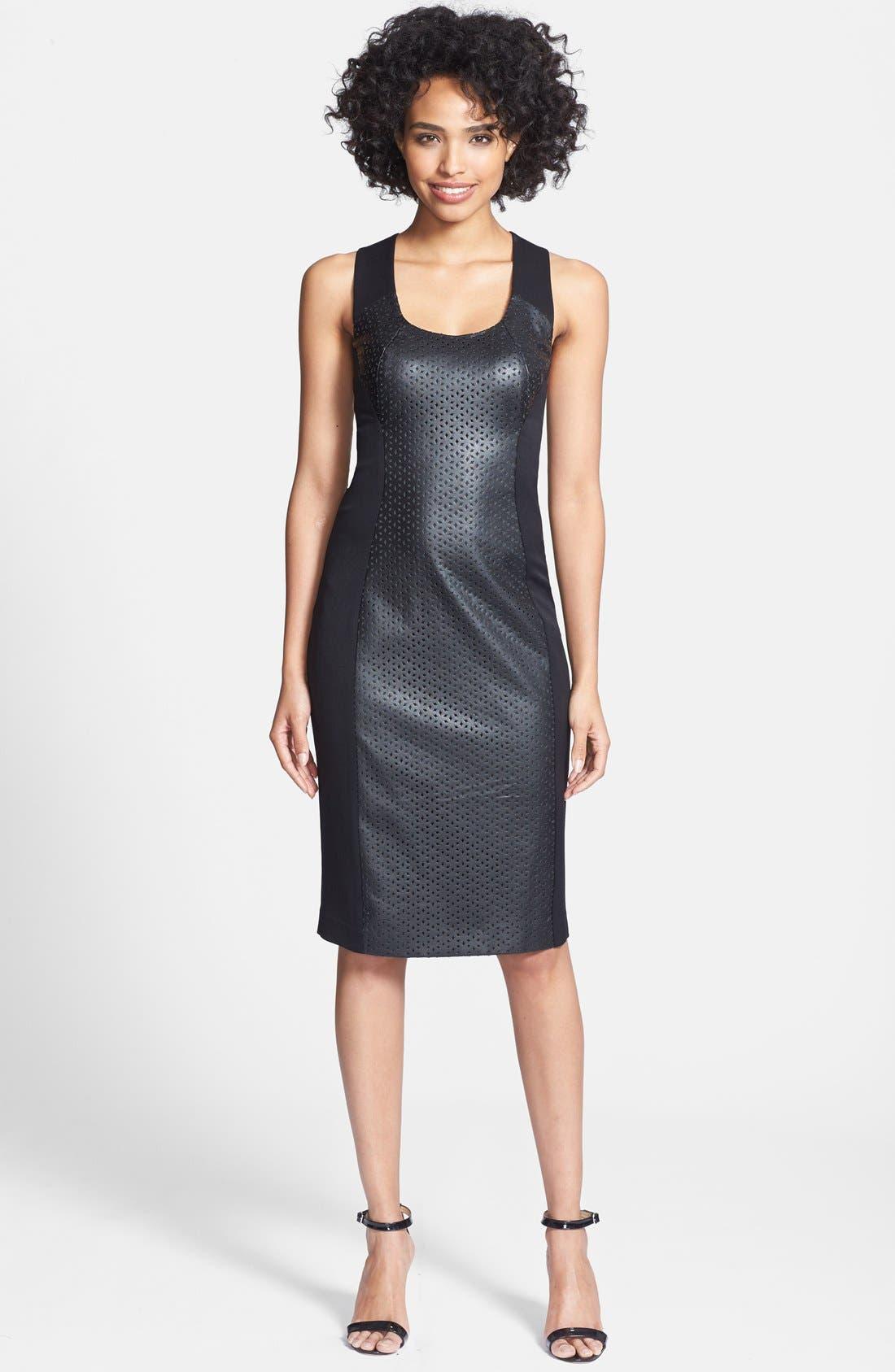 Main Image - Black Halo 'Blayze' Laser Cut Faux Leather & Gabardine Dress