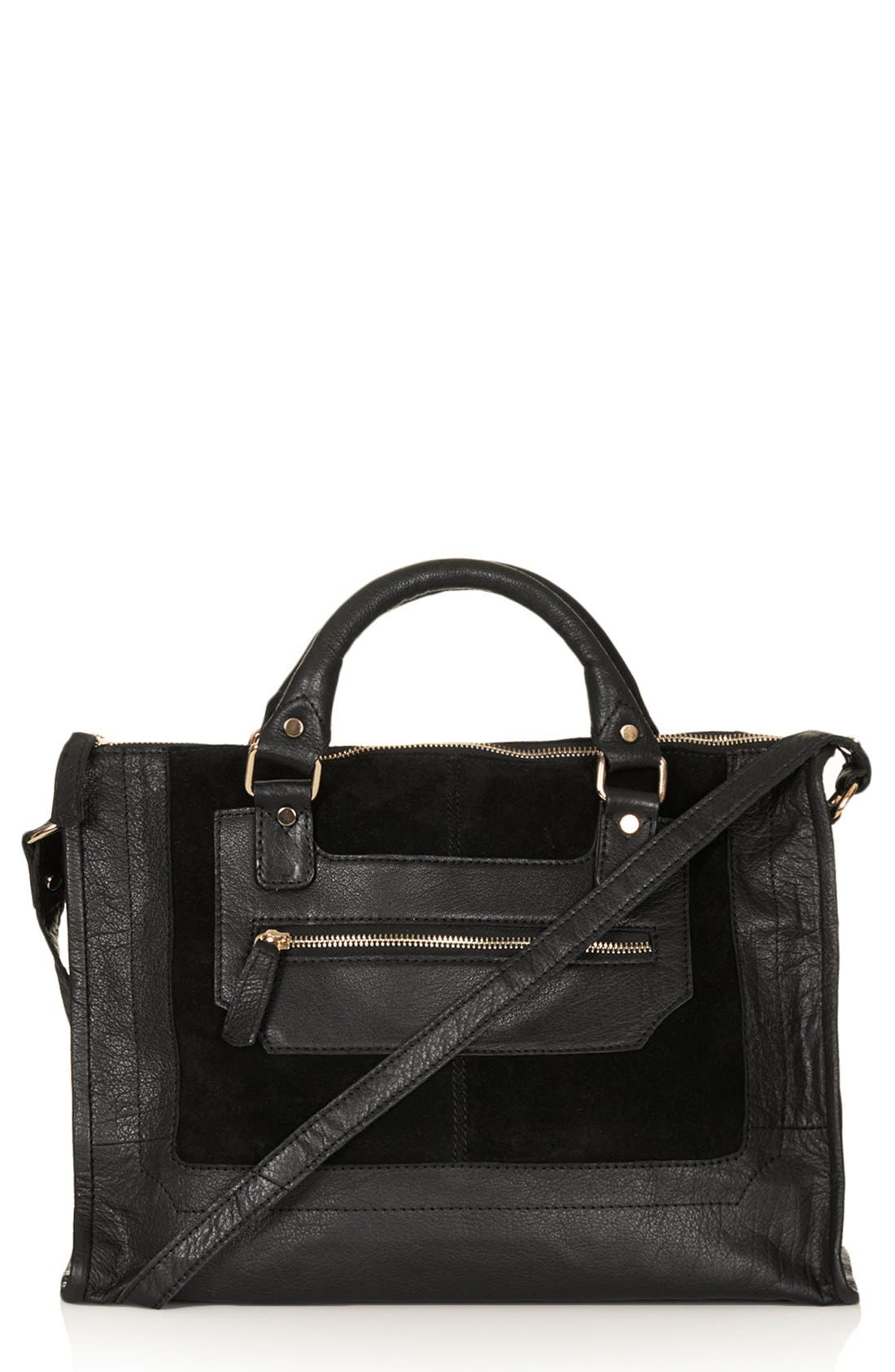 Alternate Image 1 Selected - Topshop Leather & Suede Satchel