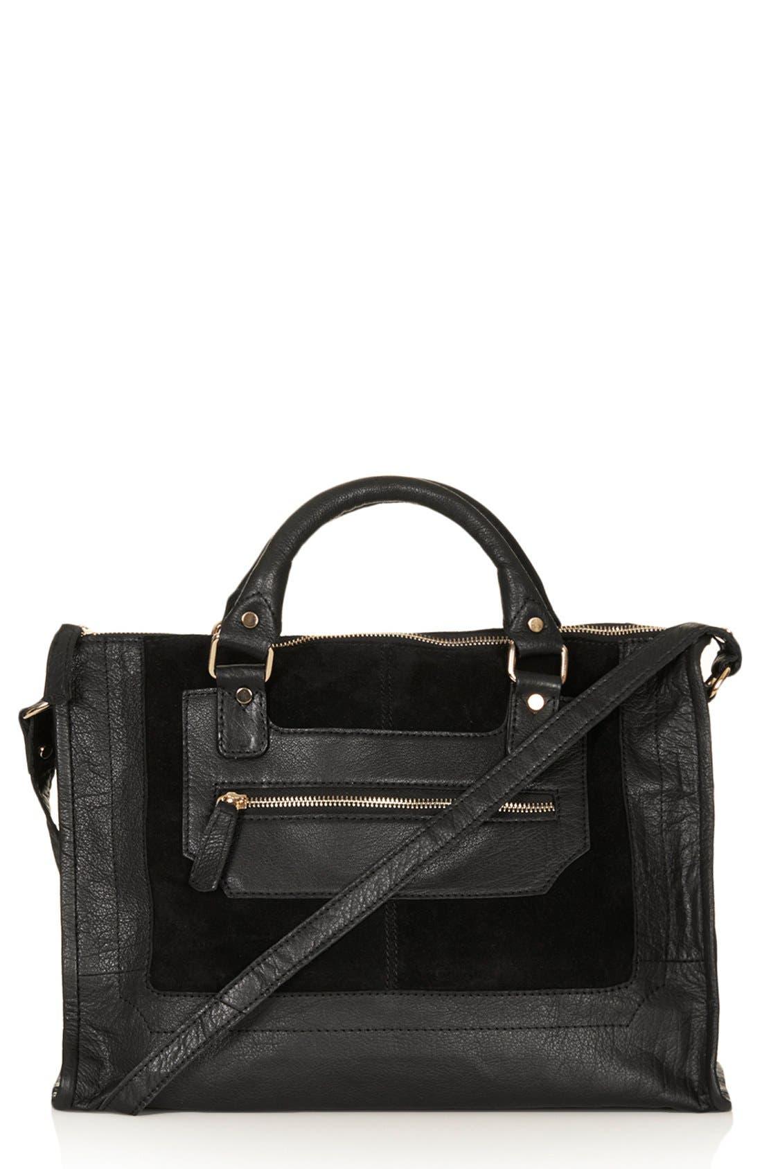 Main Image - Topshop Leather & Suede Satchel