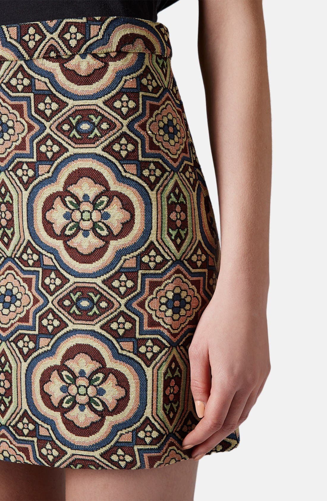 Alternate Image 4  - Topshop Folk Jacquard A-Line Skirt