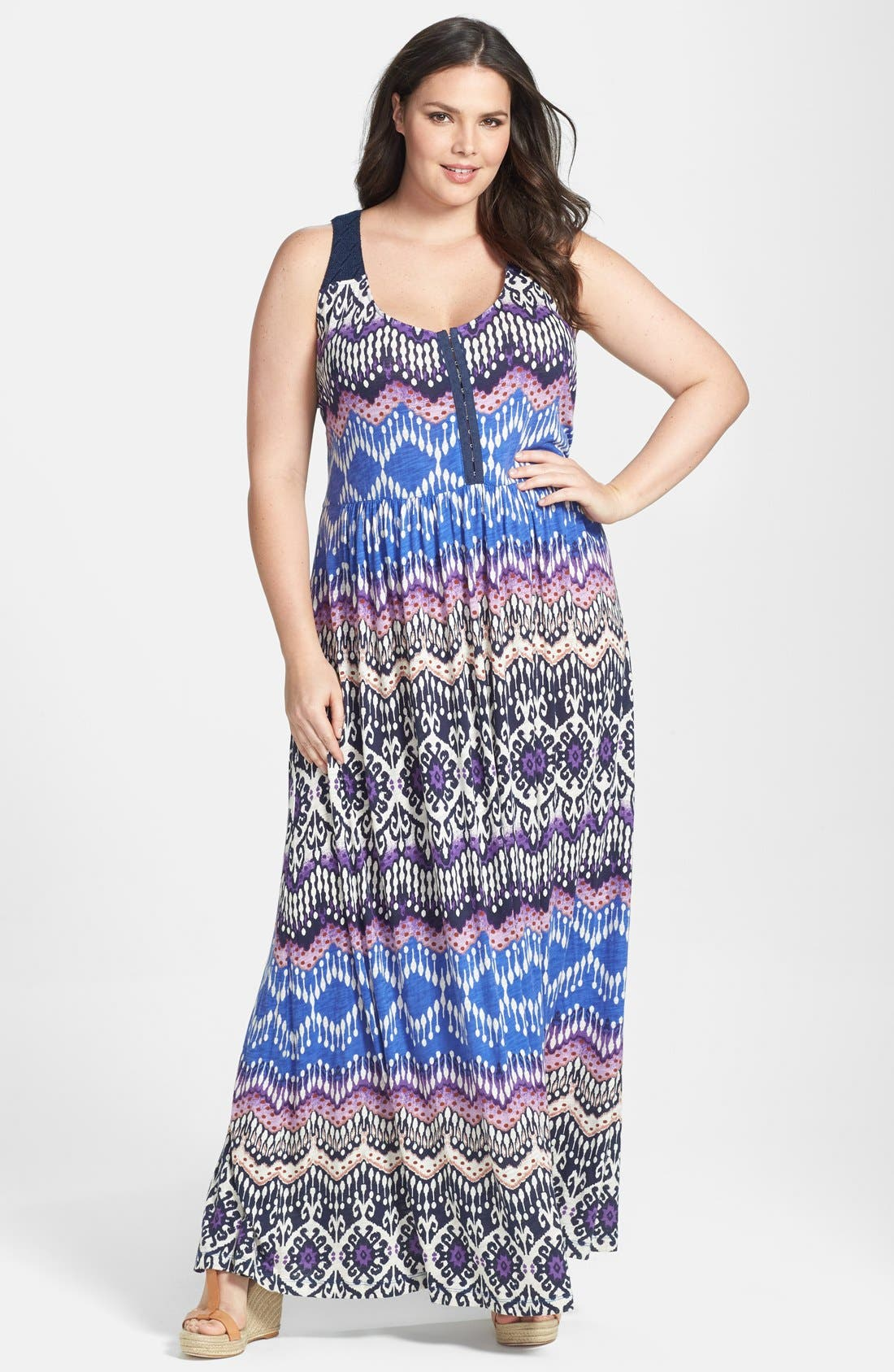 Main Image - Lucky Brand Print Slub Jersey Maxi Dress (Plus Size)