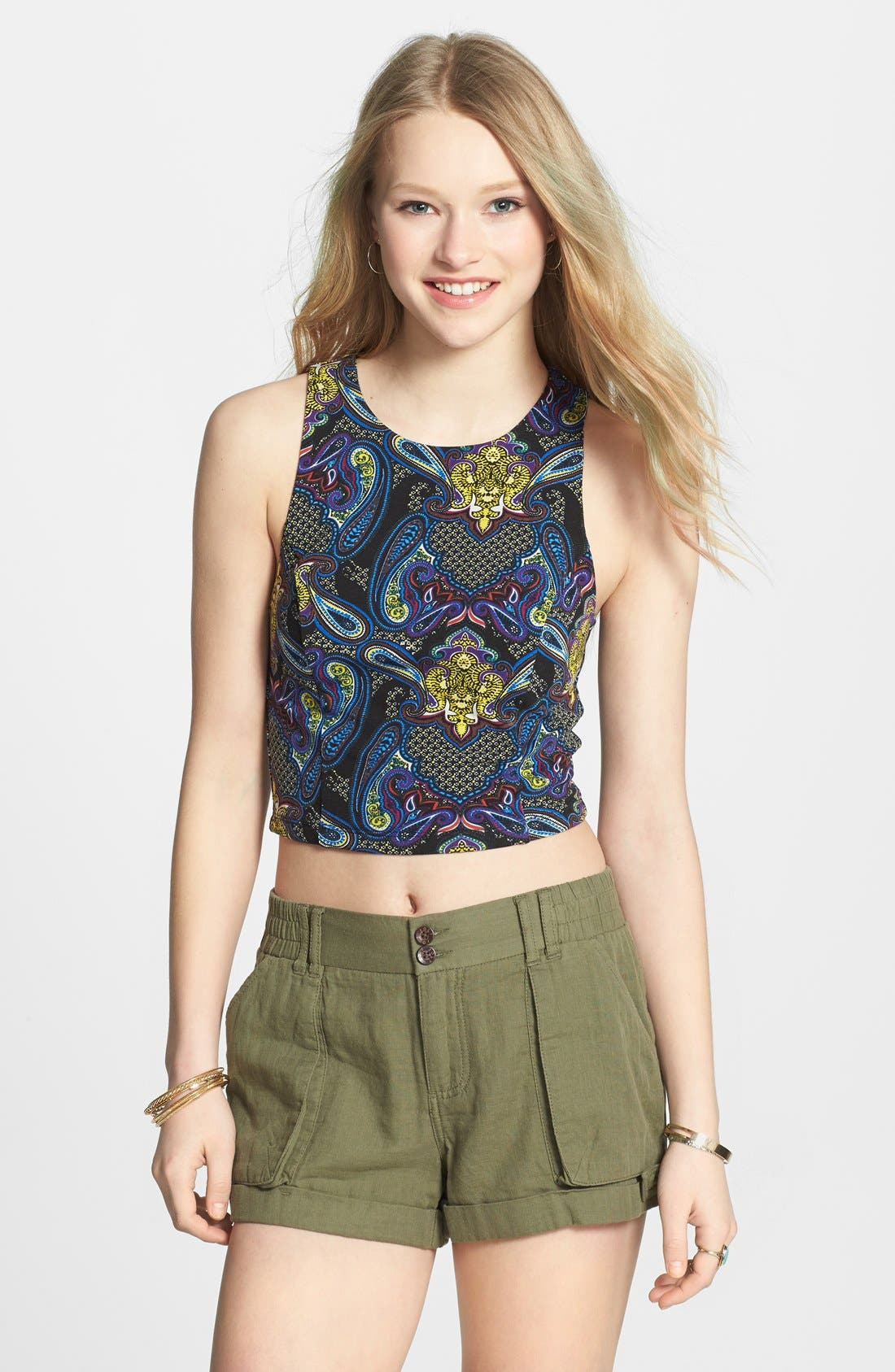 Main Image - Lily White Print Crop Tank (Juniors)