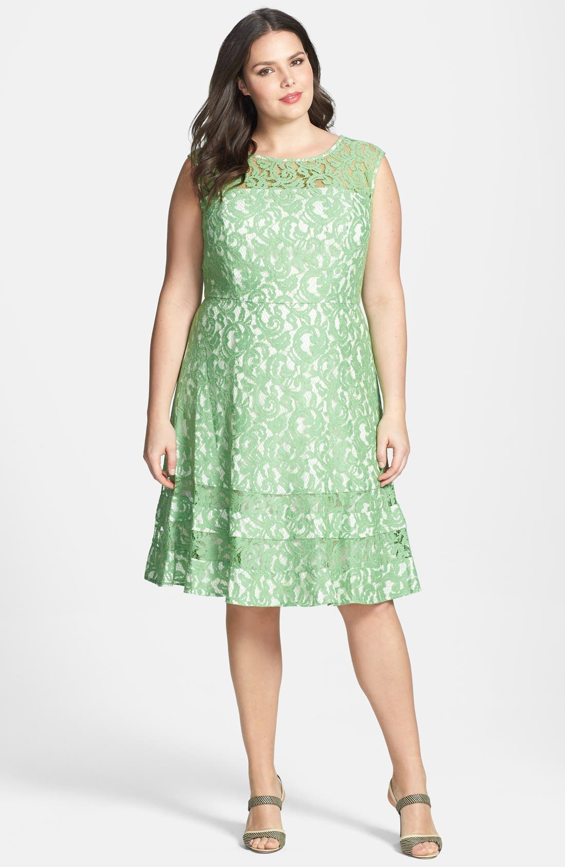 Main Image - Adrianna Papell Cutaway Sleeve Lace Shift Dress (Plus Size)