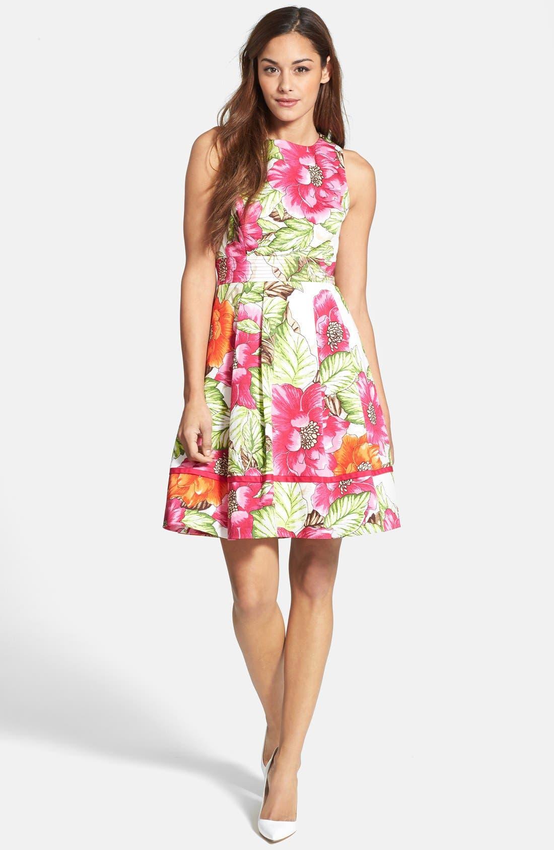 Alternate Image 3  - Eliza J Floral Print Cotton Sateen Fit & Flare Dress
