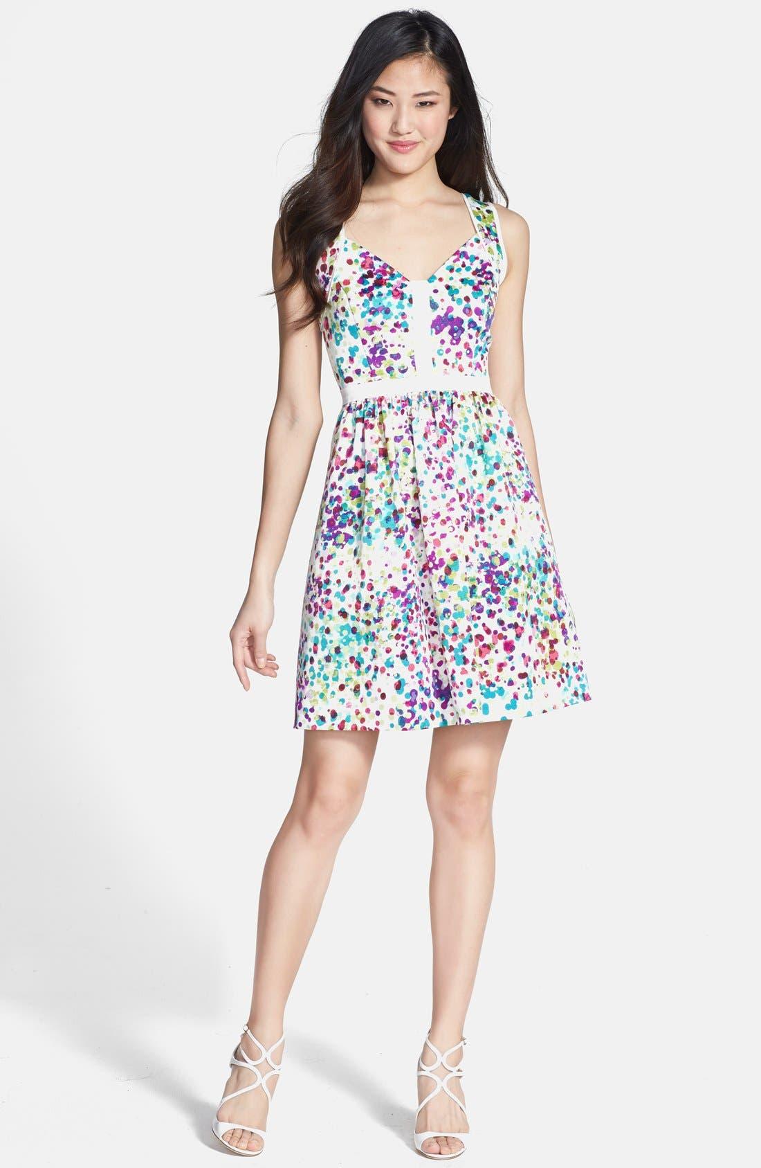 Main Image - Ivy & Blu Print Ottoman Knit Fit & Flare Dress