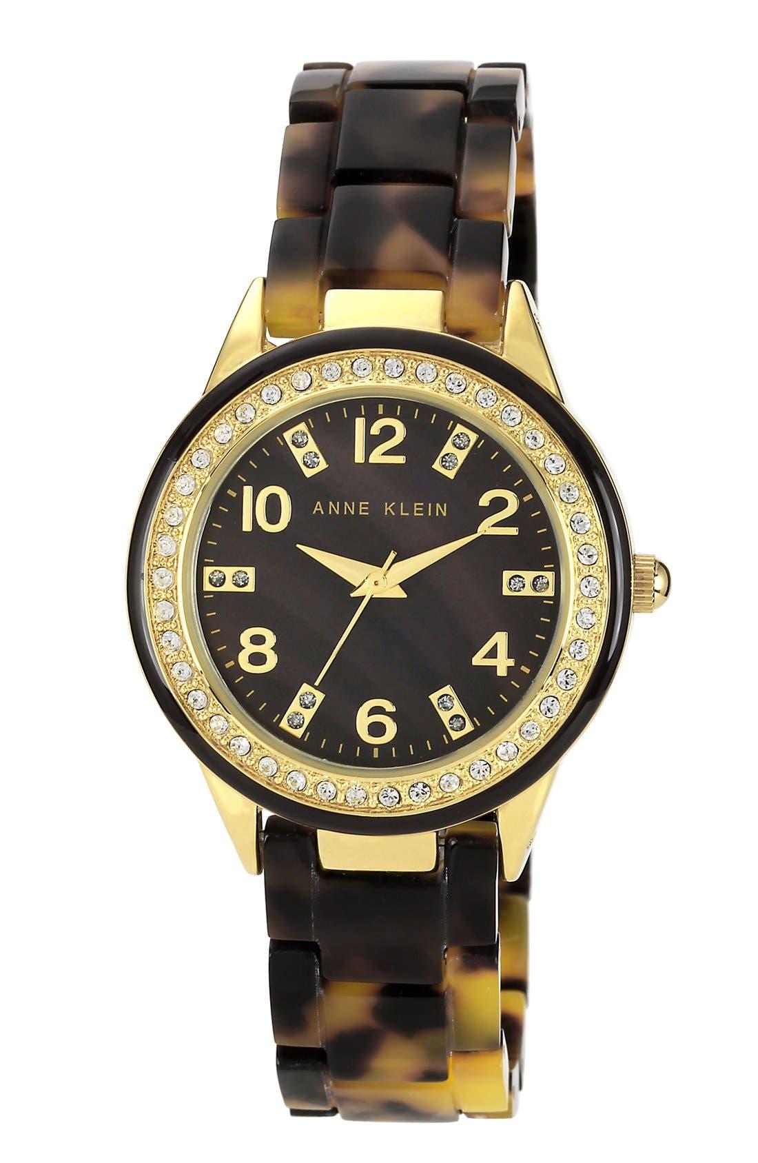Main Image - Anne Klein Crystal Case Bracelet Watch, 35mm