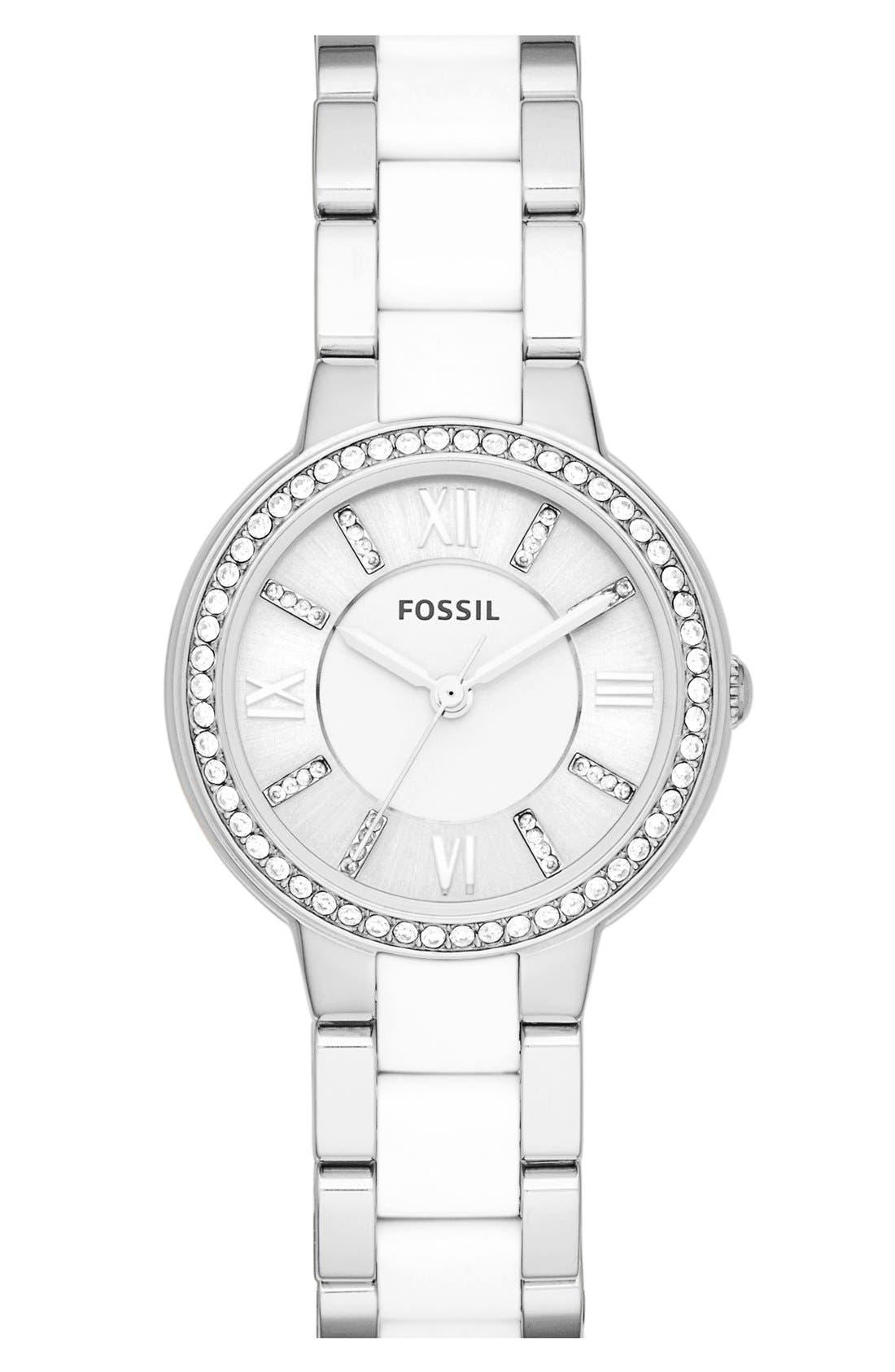 Main Image - Fossil 'Virginia' Crystal Bezel Resin Link Bracelet Watch, 28mm