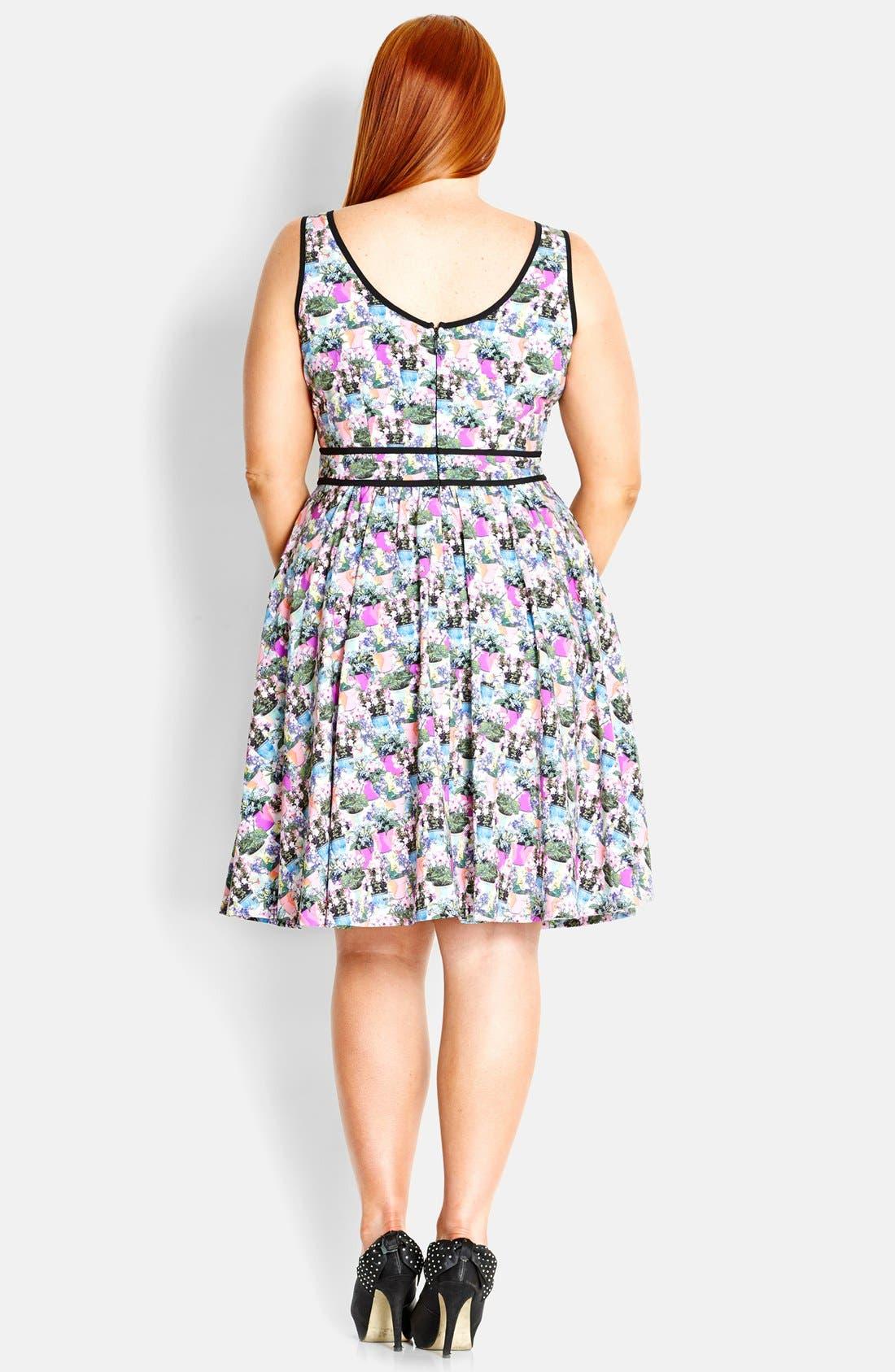 Alternate Image 2  - City Chic 'Miss Flowerpot' Fit & Flare Dress (Plus Size)