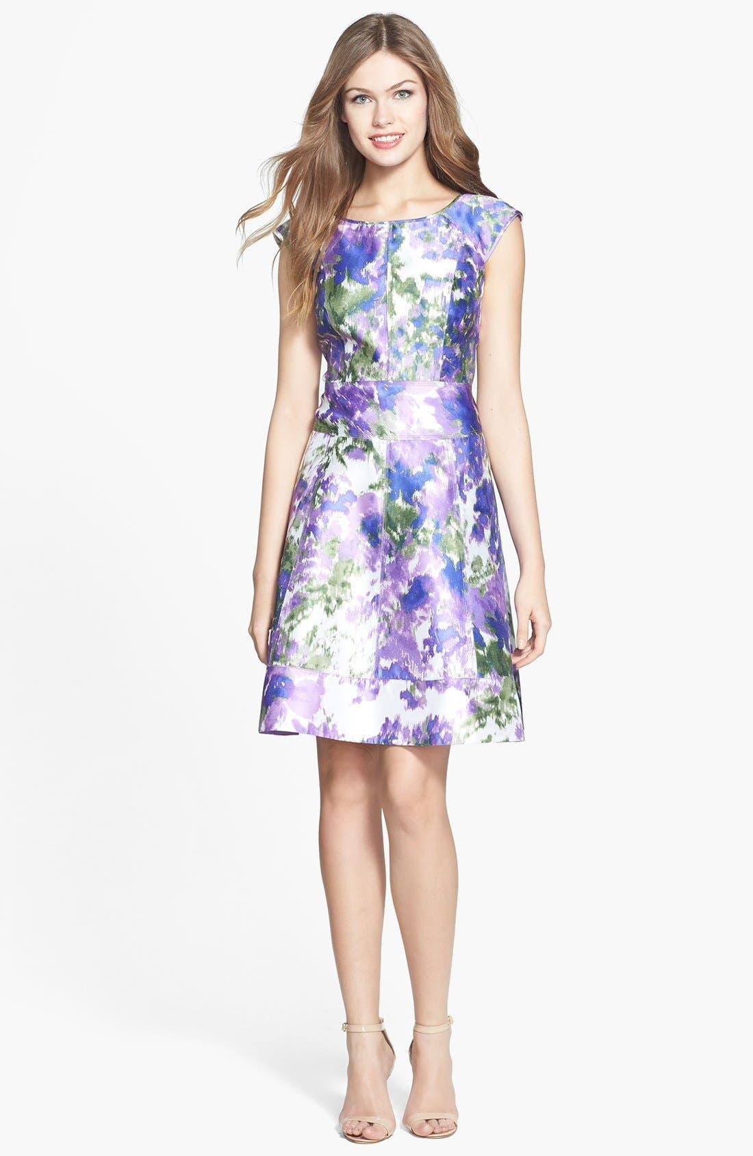 Alternate Image 2  - Maggy London Print Taffeta Fit & Flare Dress (Regular & Petite)