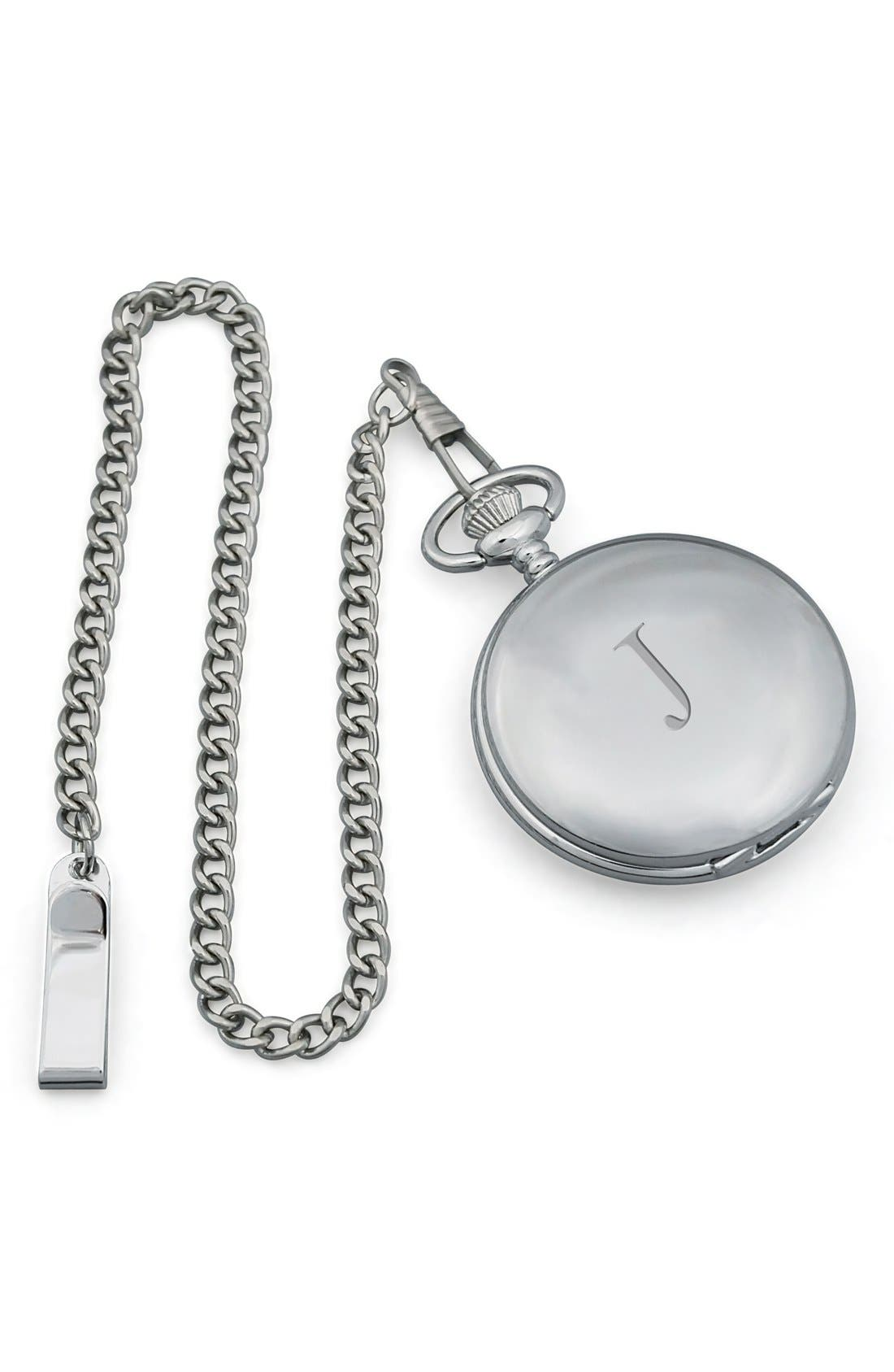 Cathy's Concepts Silver Plate Monogram Pocket Watch, 44mm