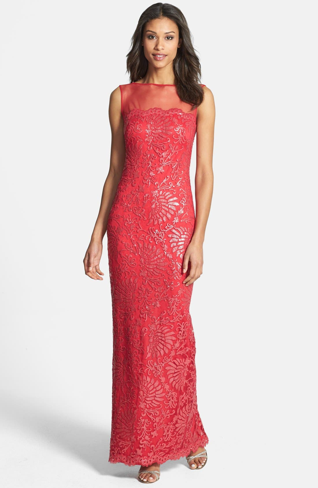 Main Image - Tadashi Shoji Illusion Yoke Sequin Embroidered Gown