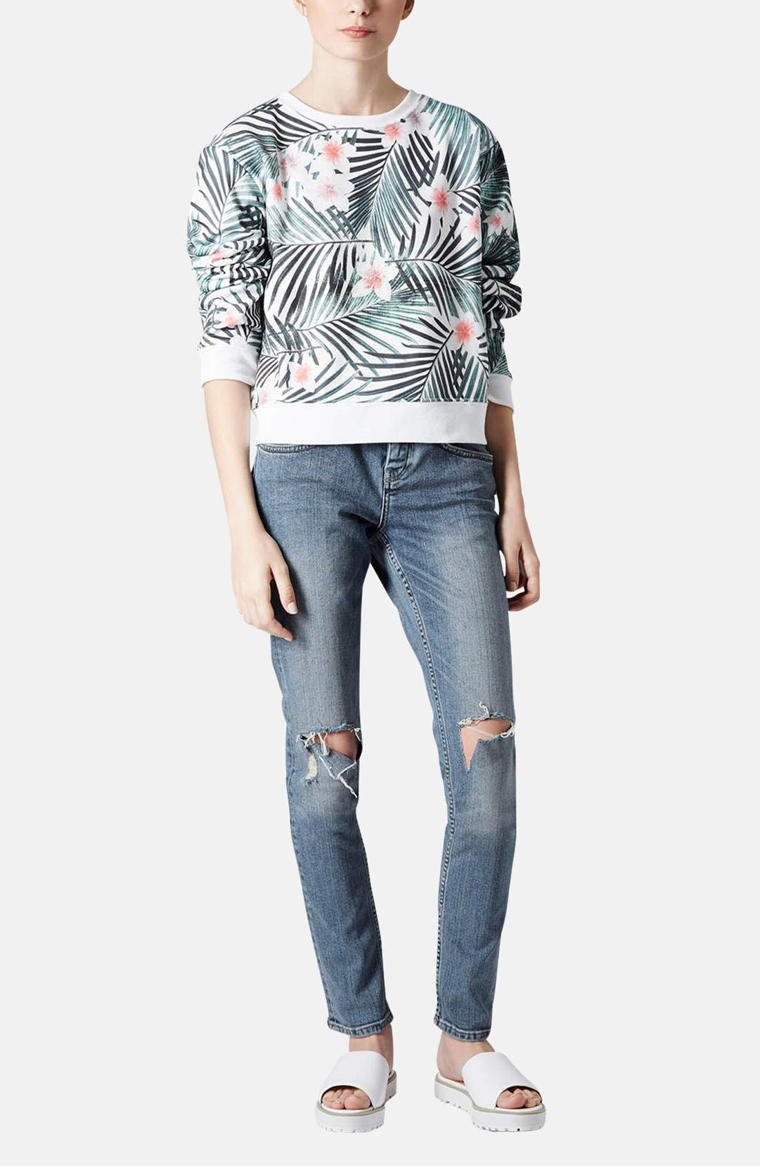 Alternate Image 4  - Topshop Moto 'Rita' Distressed Skinny Jeans (Mid Denim) (Short)