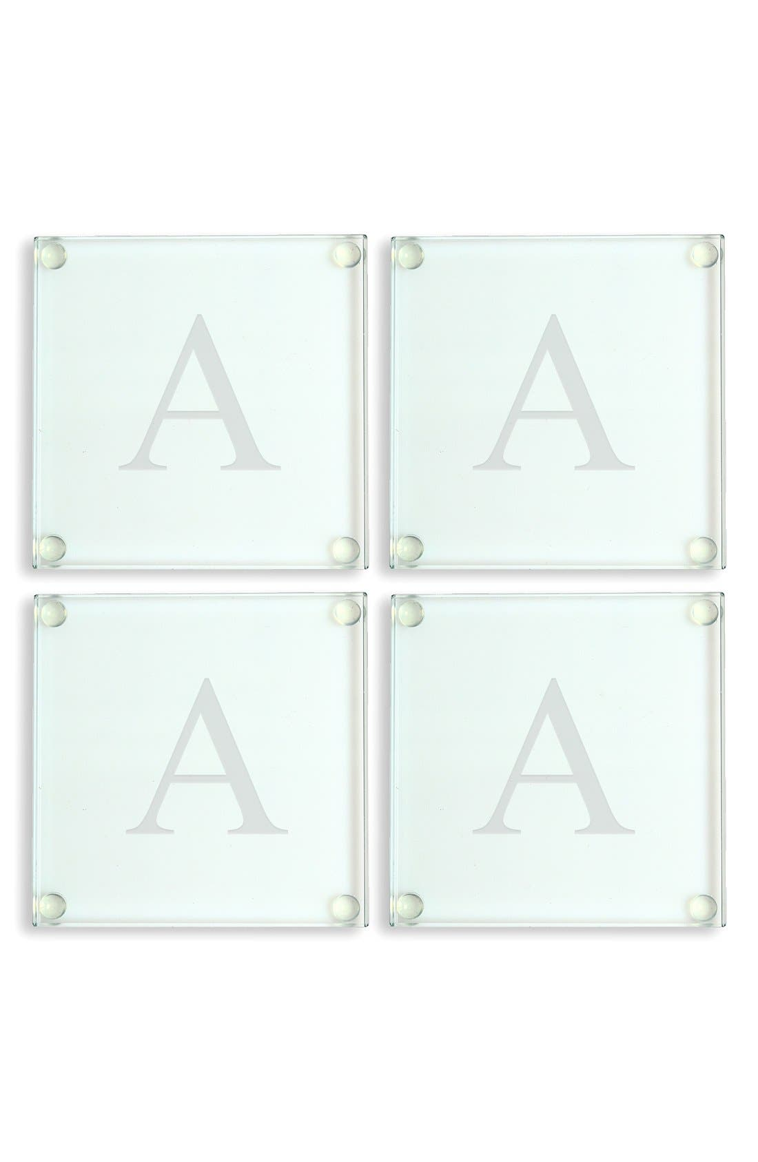 Cathy's Concepts Monogram Glass Coasters (Set of 4)