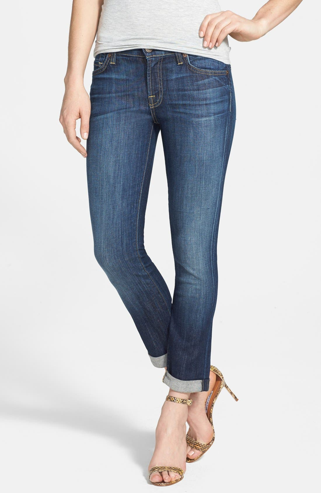 Alternate Image 1 Selected - 7 For All Mankind® Crop Skinny Jeans (Nouveau New York Dark)