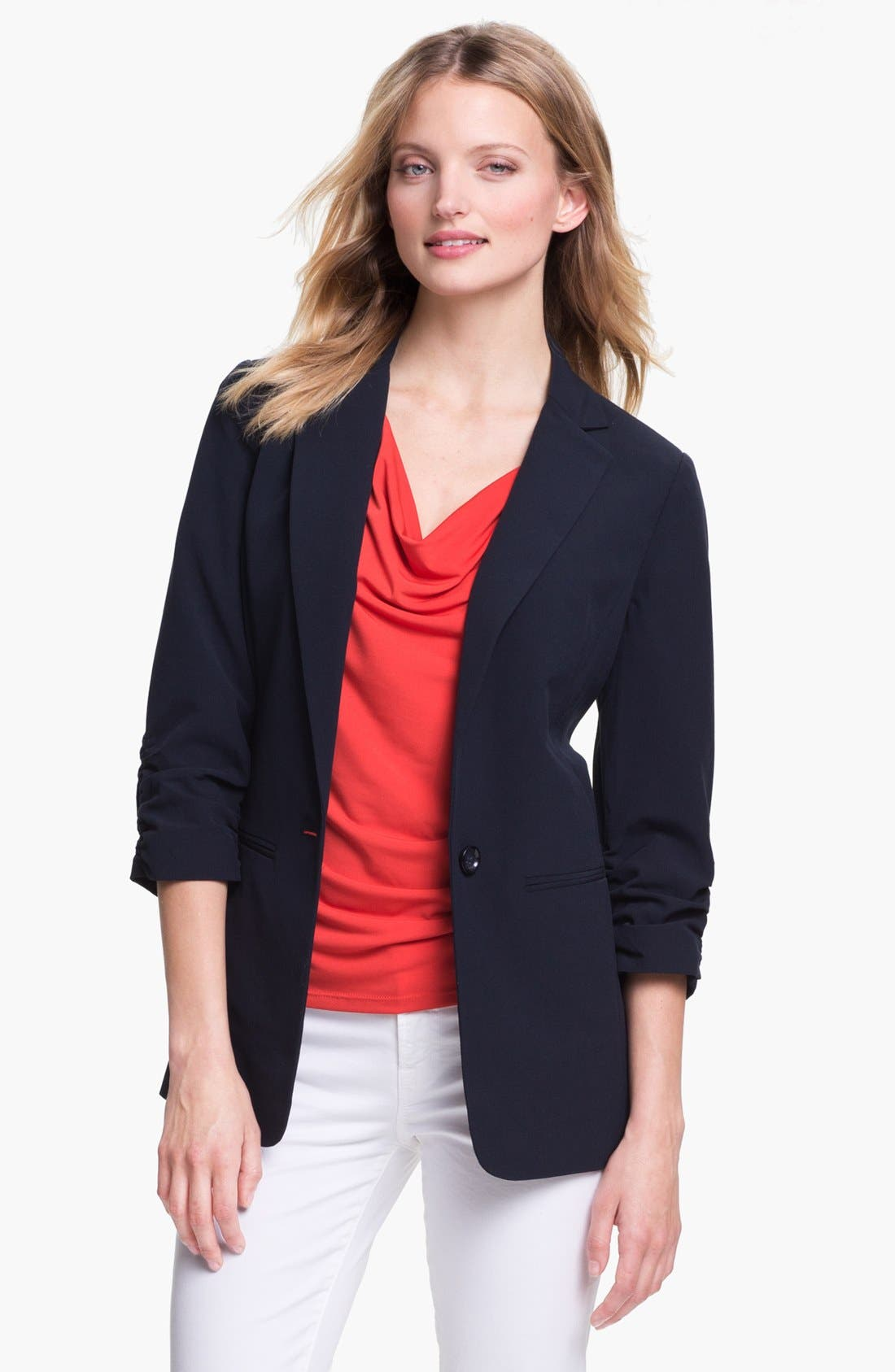 Alternate Image 1 Selected - MICHAEL Michael Kors Ruched Sleeve Boyfriend Jacket (Regular & Petite)