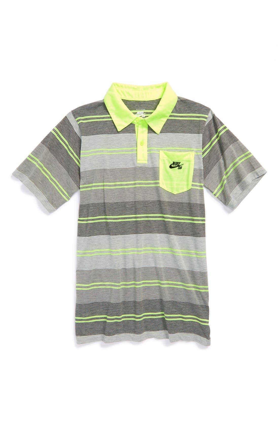 Alternate Image 1 Selected - Nike Skateboarding Neon Stripe Short Sleeve Polo (Big Boys)
